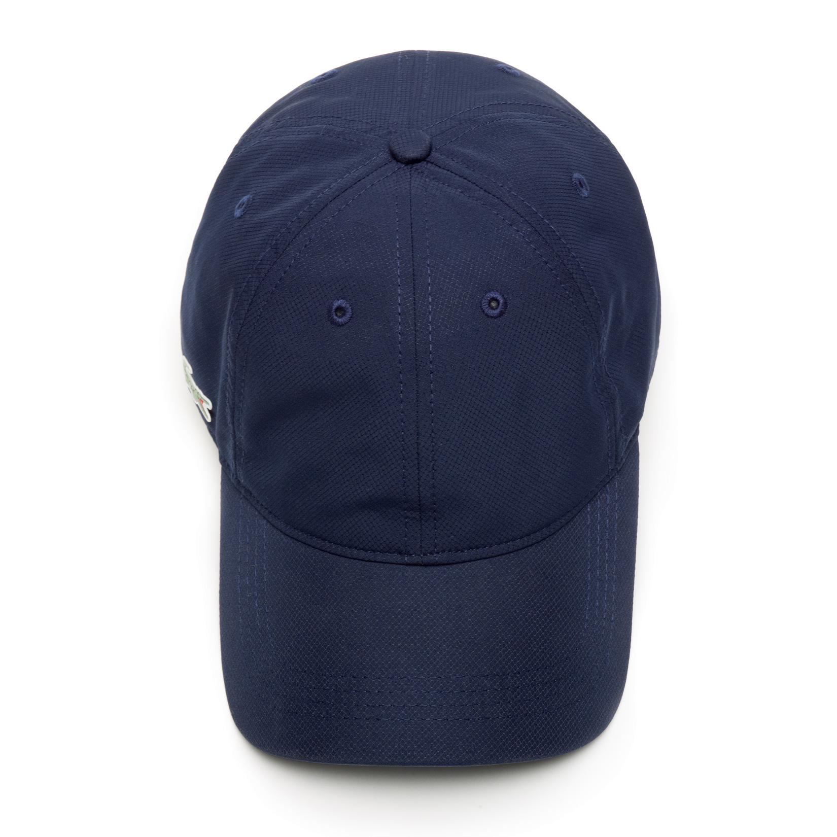 166bdec8d56 Lacoste Sport Cap in Solid Diamond Weave Taffeta - Navy Blue ...