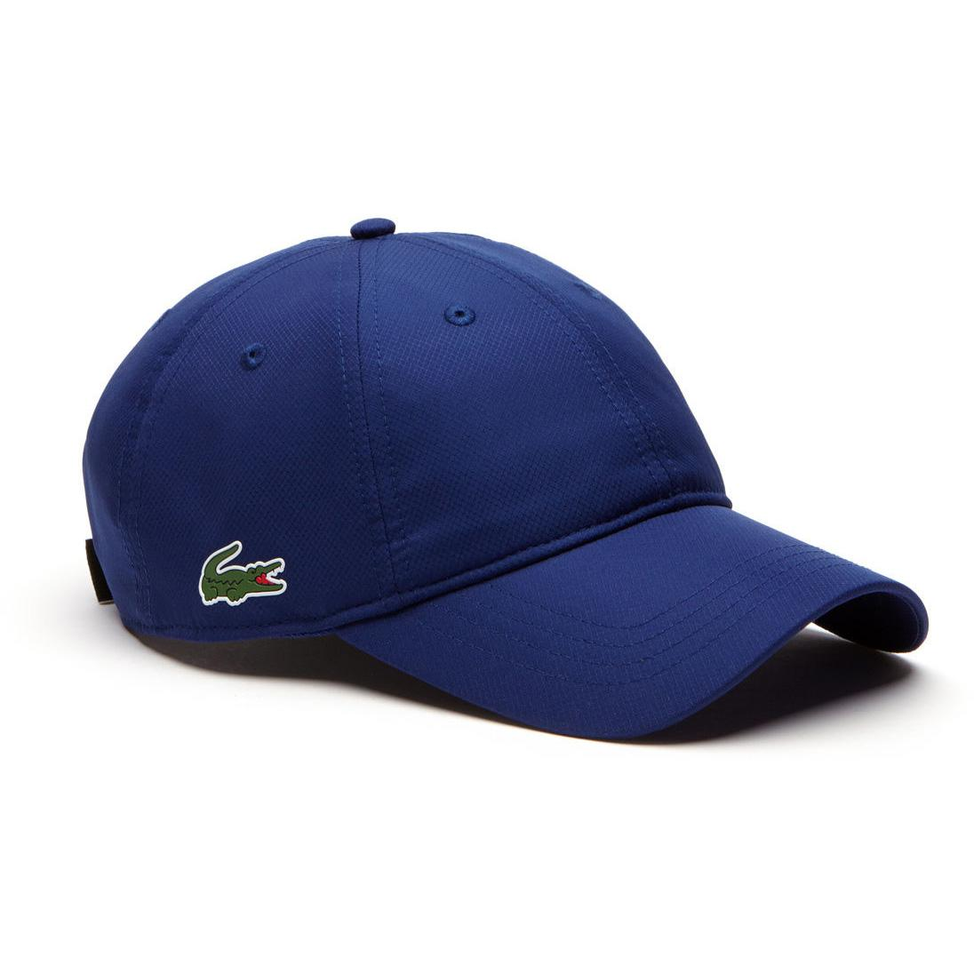 c0c6300711945 Lacoste Sport Mens Cap in Solid Diamond Weave Taffeta - Ocean Blue -  Tennisnuts.com