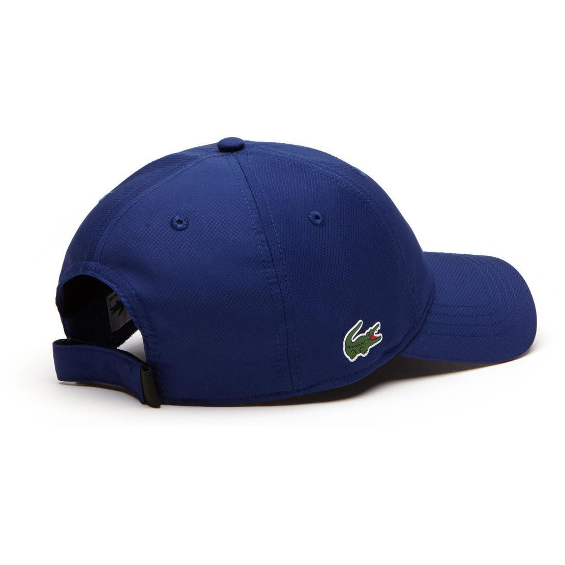 7d78dd3823d Lacoste Sport Mens Cap in Solid Diamond Weave Taffeta - Ocean Blue -  Tennisnuts.com