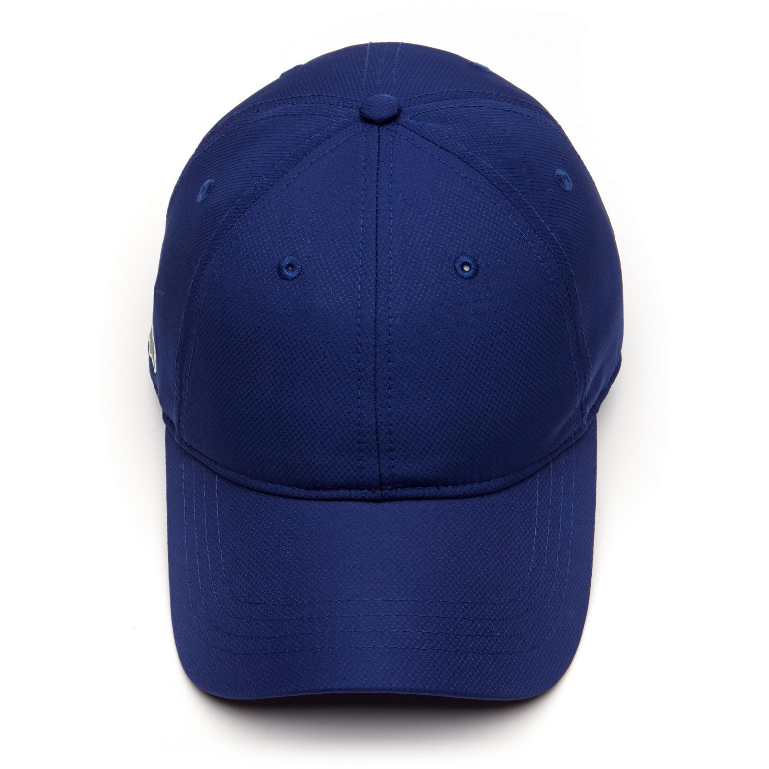 3b496ca004a Lacoste Sport Mens Cap in Solid Diamond Weave Taffeta - Ocean Blue ...