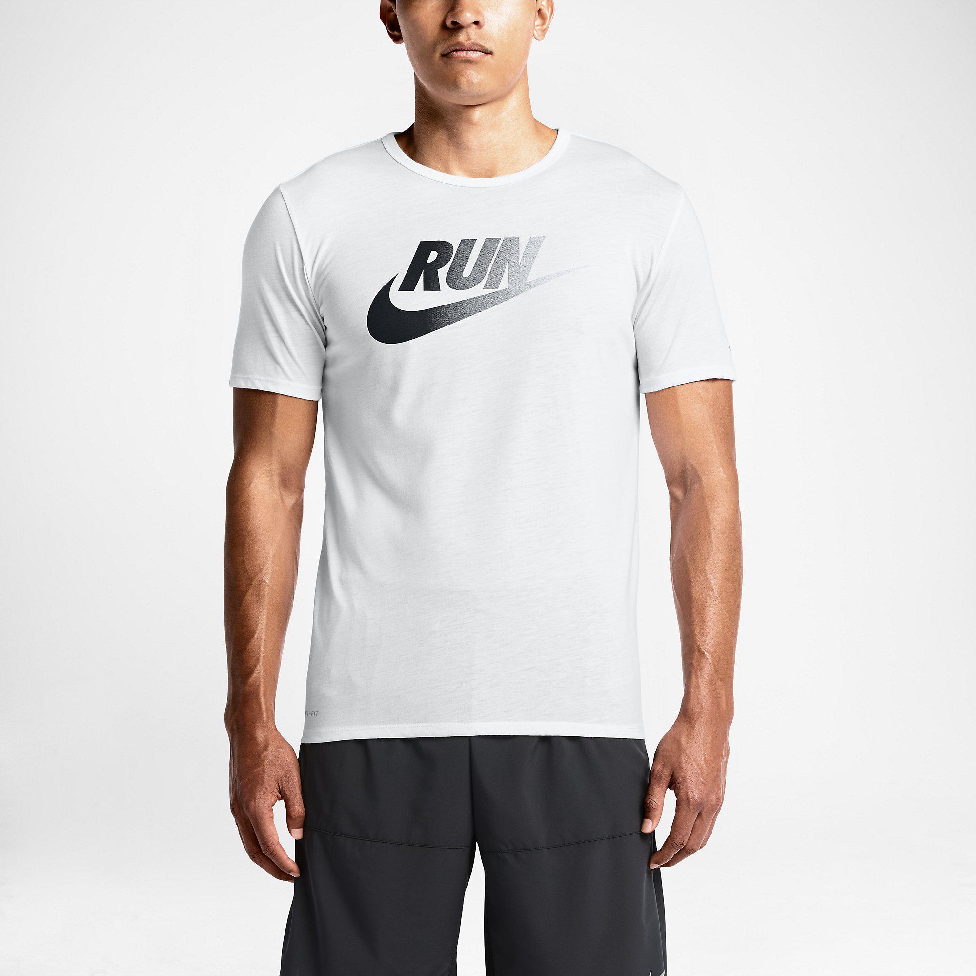 Nike Mens Run Dri Blend Swoosh Running T Shirt White
