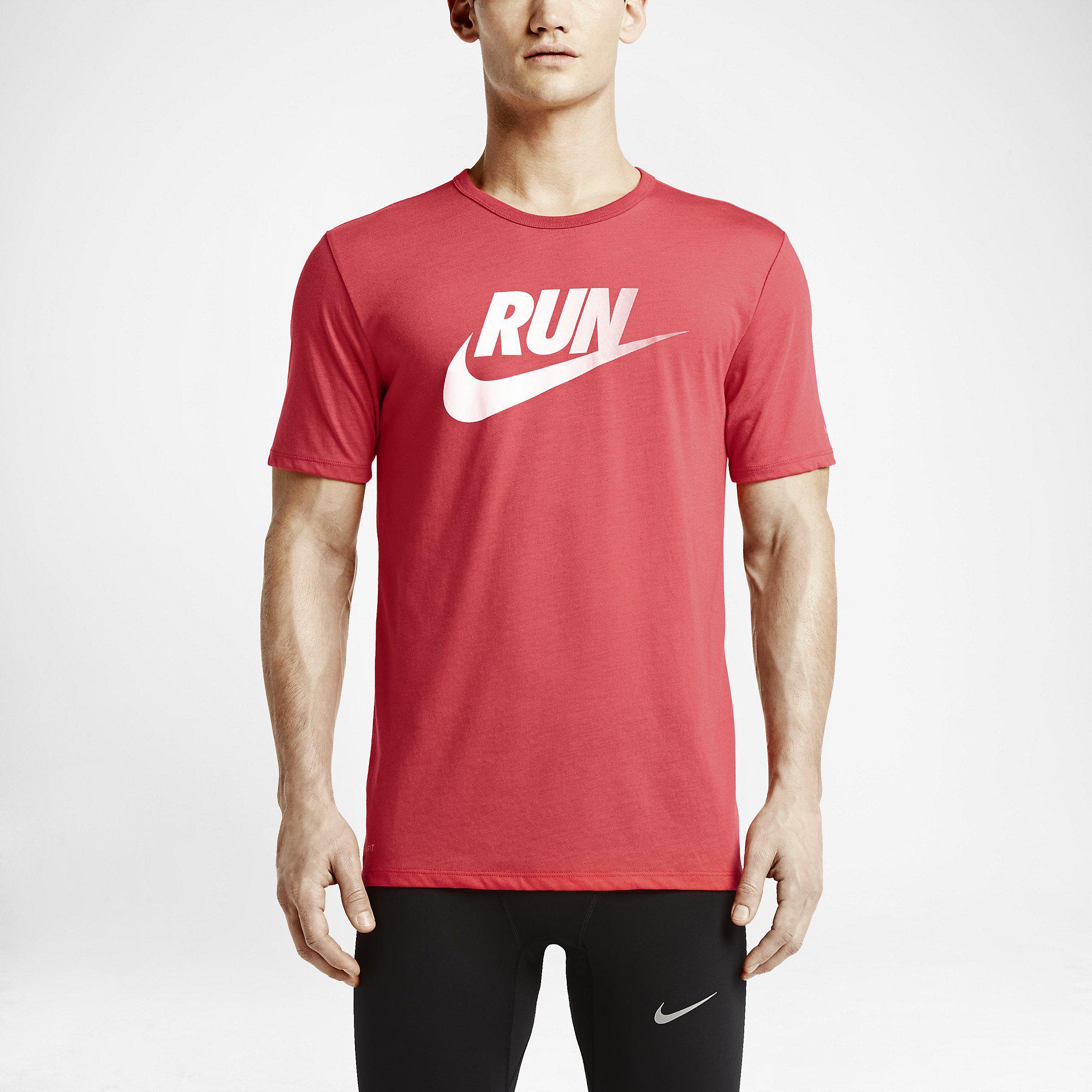 Nike Mens Run Dri Blend Swoosh Running T Shirt Daring