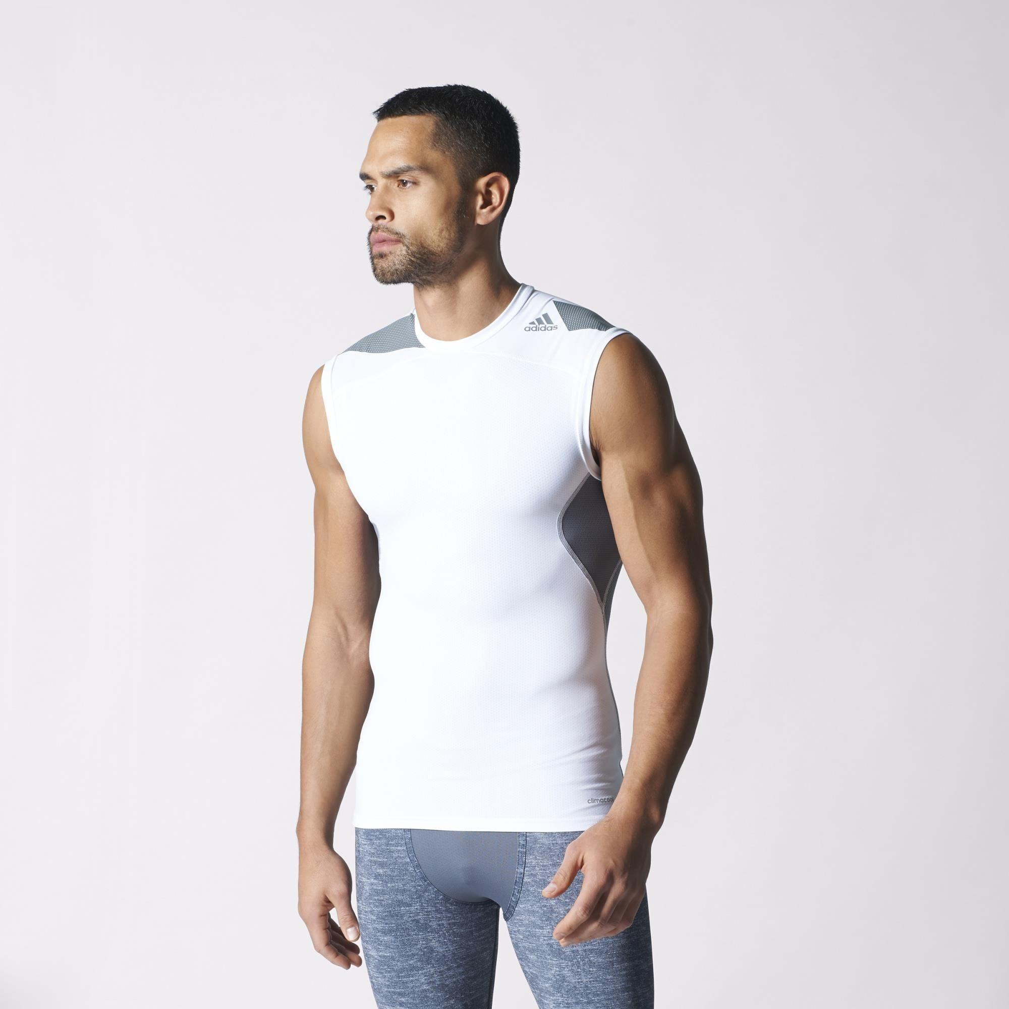 4679e2d6d7890 Adidas Mens Techfit Cool Sleeveless Tee - White Vista Grey ...