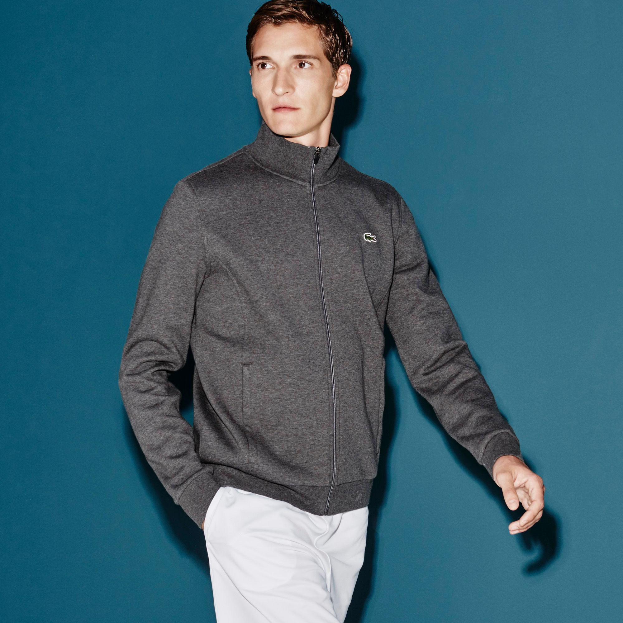 cfbfc92350f6 Lacoste Sport Mens Zippered Fleece Sweatshirt - Pitch Grey ...