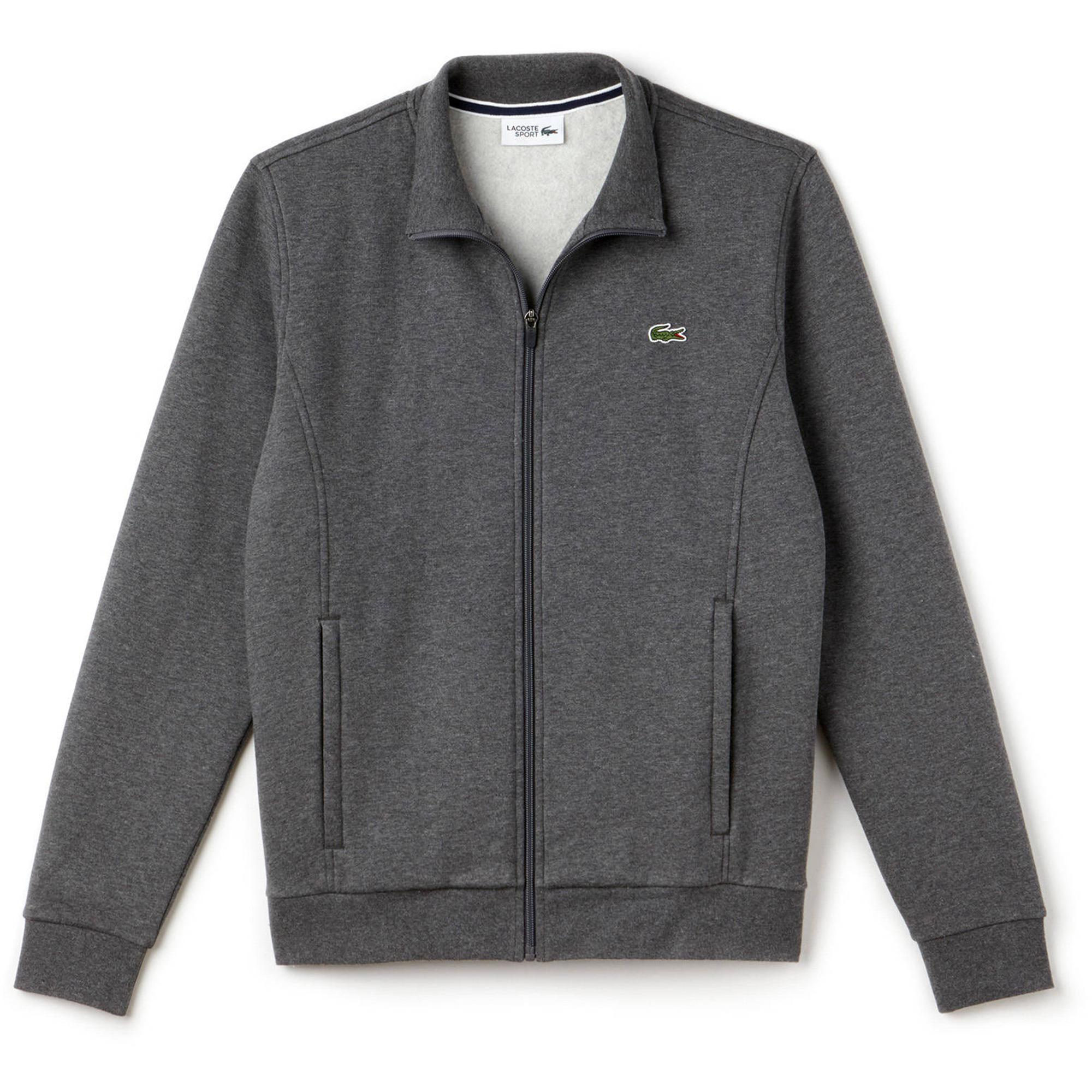 Grey Lacoste Zippered Fleece Mens Sweatshirt Pitch 8wOn0Pk