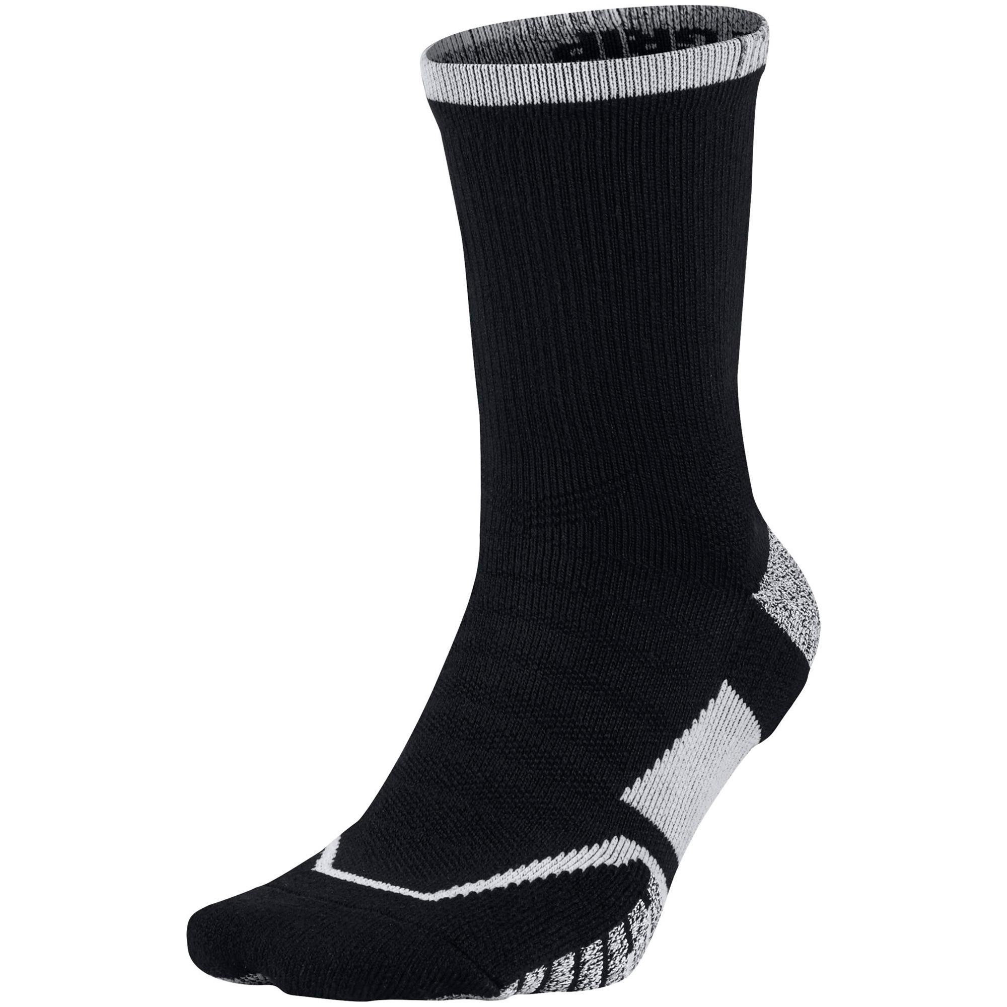 Nike Grip Elite Crew Tennis Socks (1 Pair) - Black/White ...