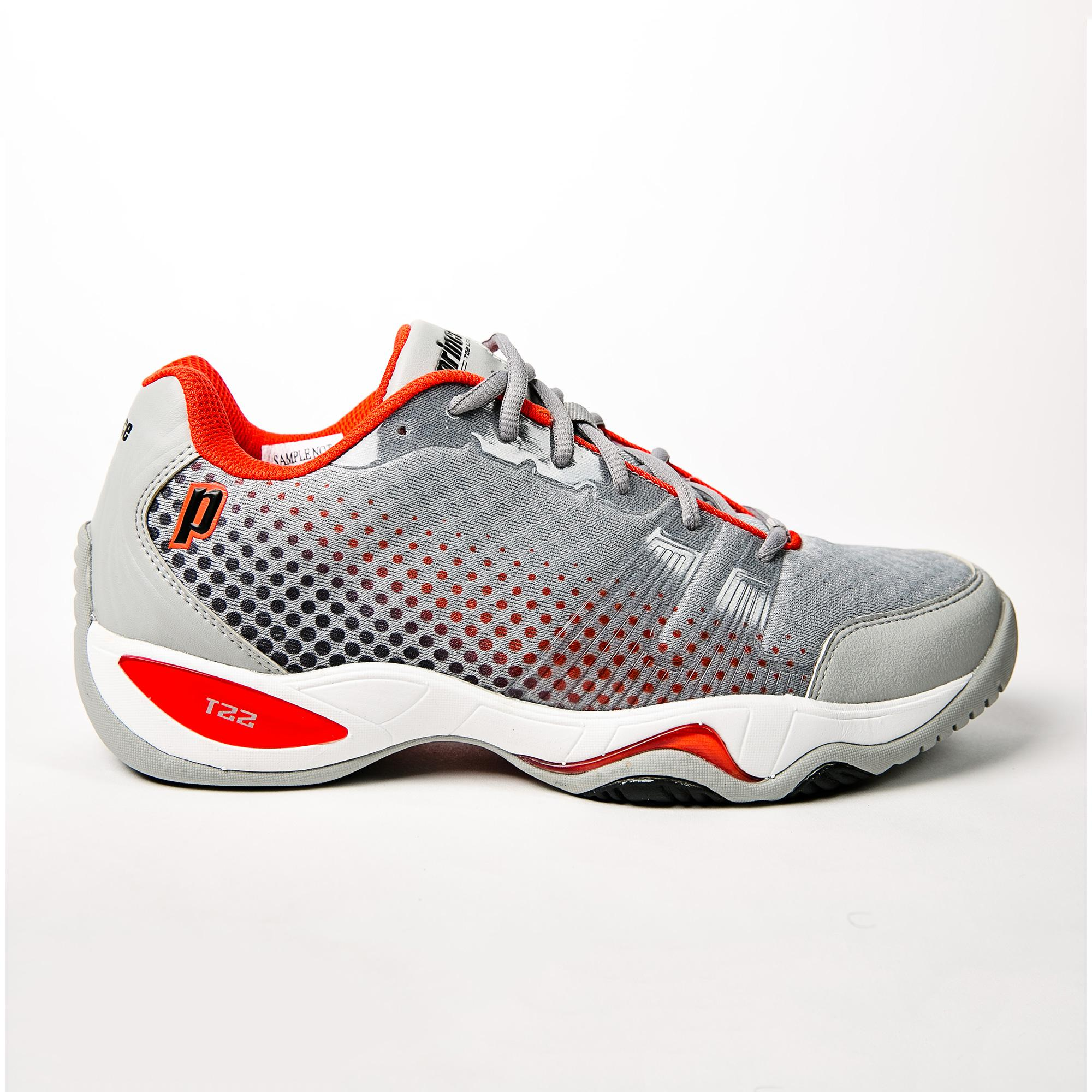 0766fae4924c Prince Mens T22 Lite Tennis Shoes - Grey Black Red - Tennisnuts.com