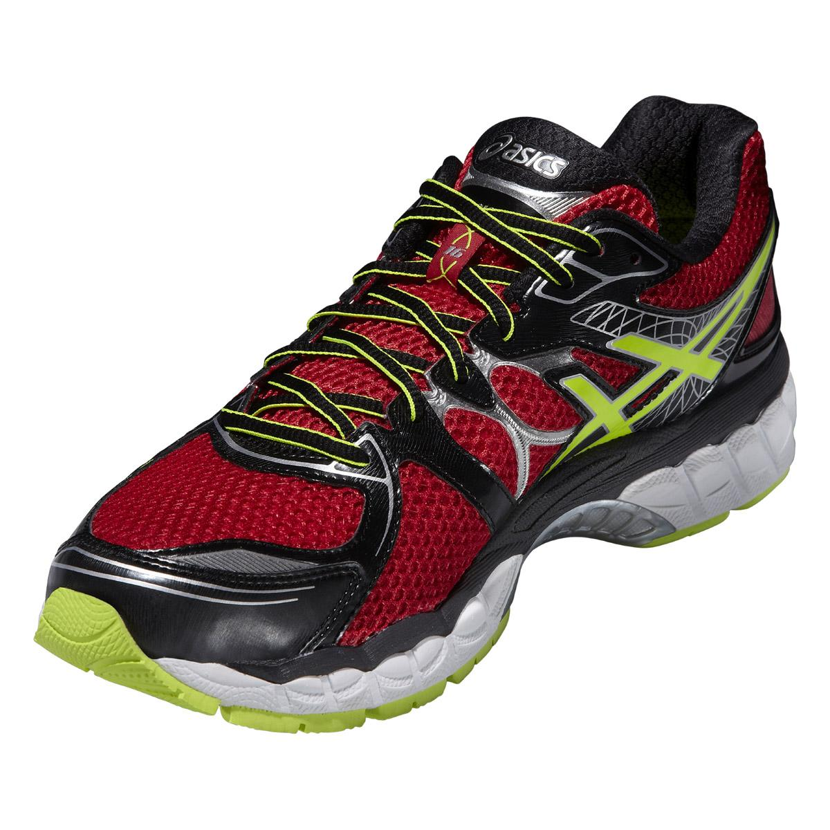 asics mens gel nimbus 16 running shoes red flash yellow. Black Bedroom Furniture Sets. Home Design Ideas