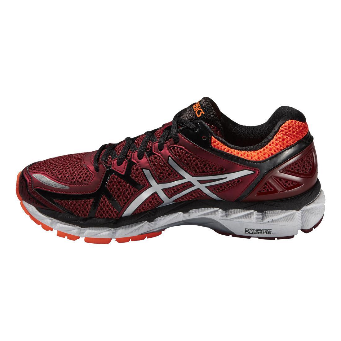 asics mens gel kayano 21 running shoes red orange