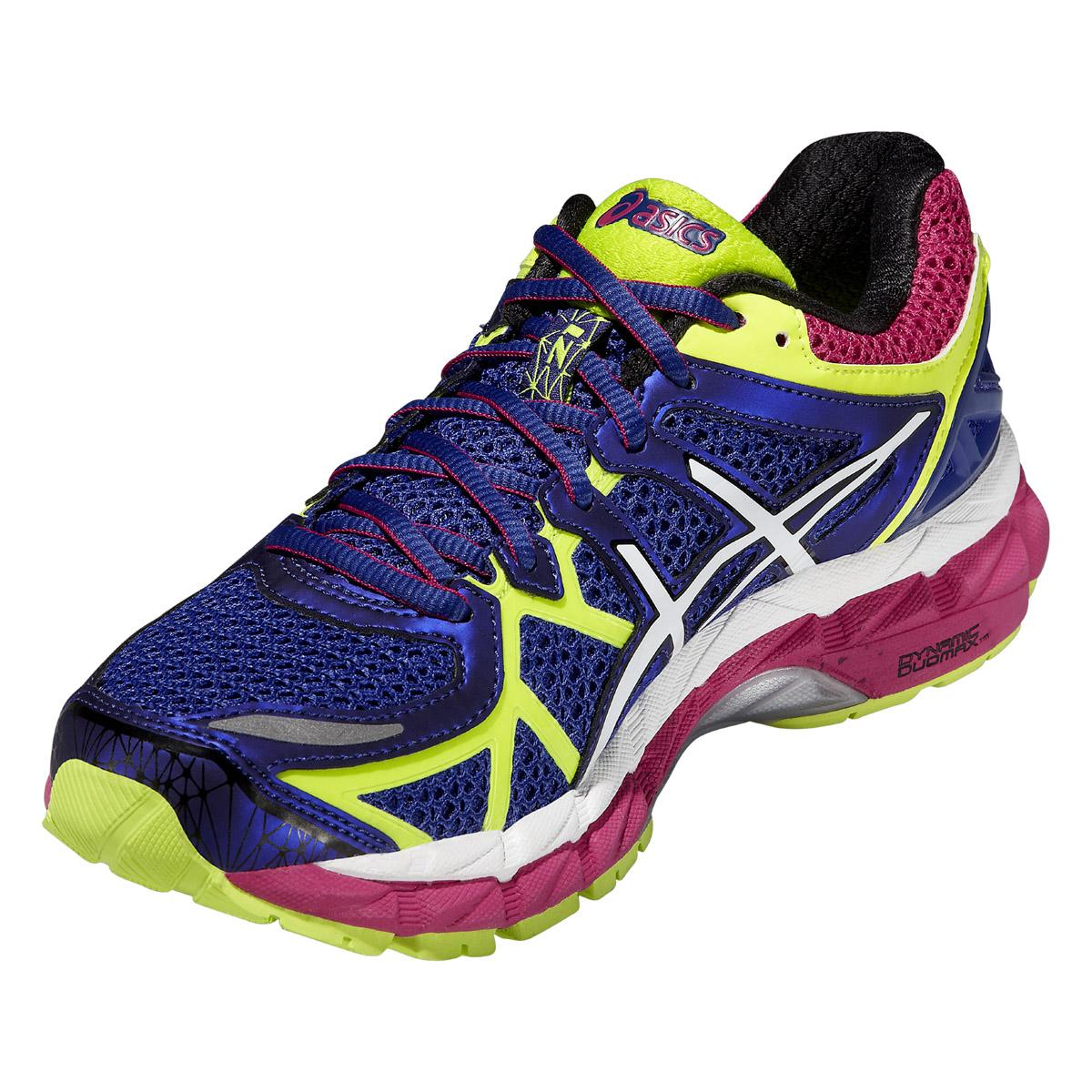 asics womens gel kayano 21 running shoes blue flash yellow. Black Bedroom Furniture Sets. Home Design Ideas