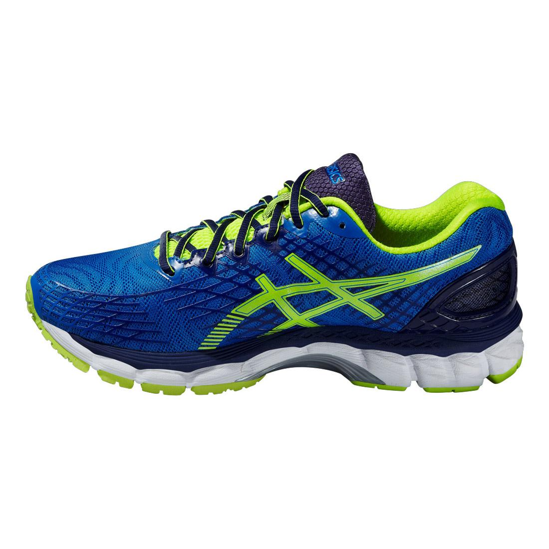 asics mens gel nimbus 17 running shoes electric blue flash yellow. Black Bedroom Furniture Sets. Home Design Ideas