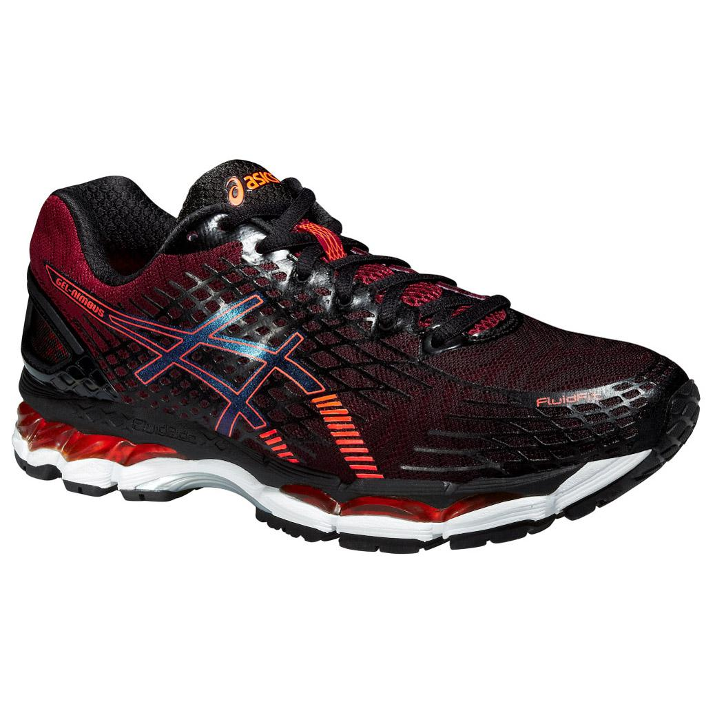 asics mens gel nimbus 17 running shoes black hot orange. Black Bedroom Furniture Sets. Home Design Ideas