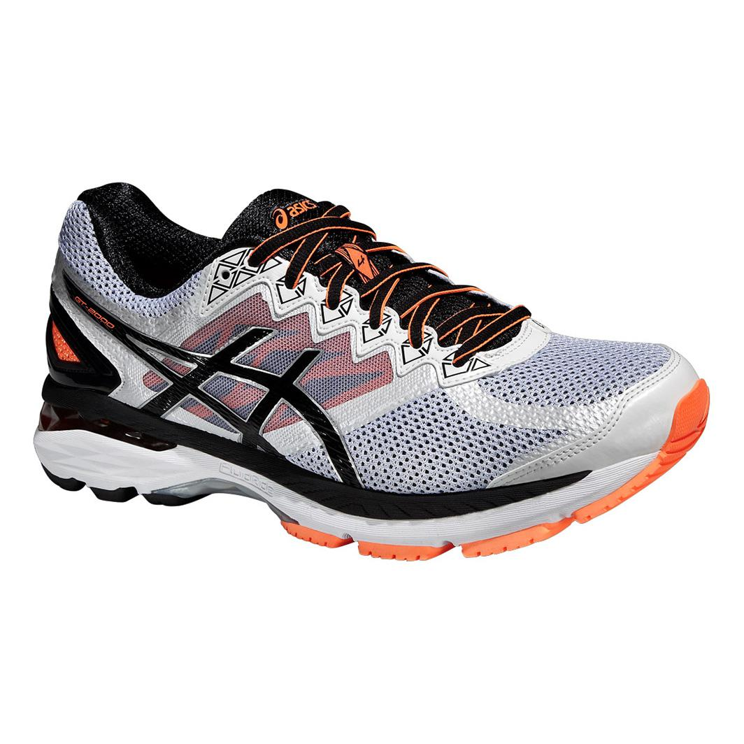 asics mens gt 2000 4 running shoes white orange. Black Bedroom Furniture Sets. Home Design Ideas
