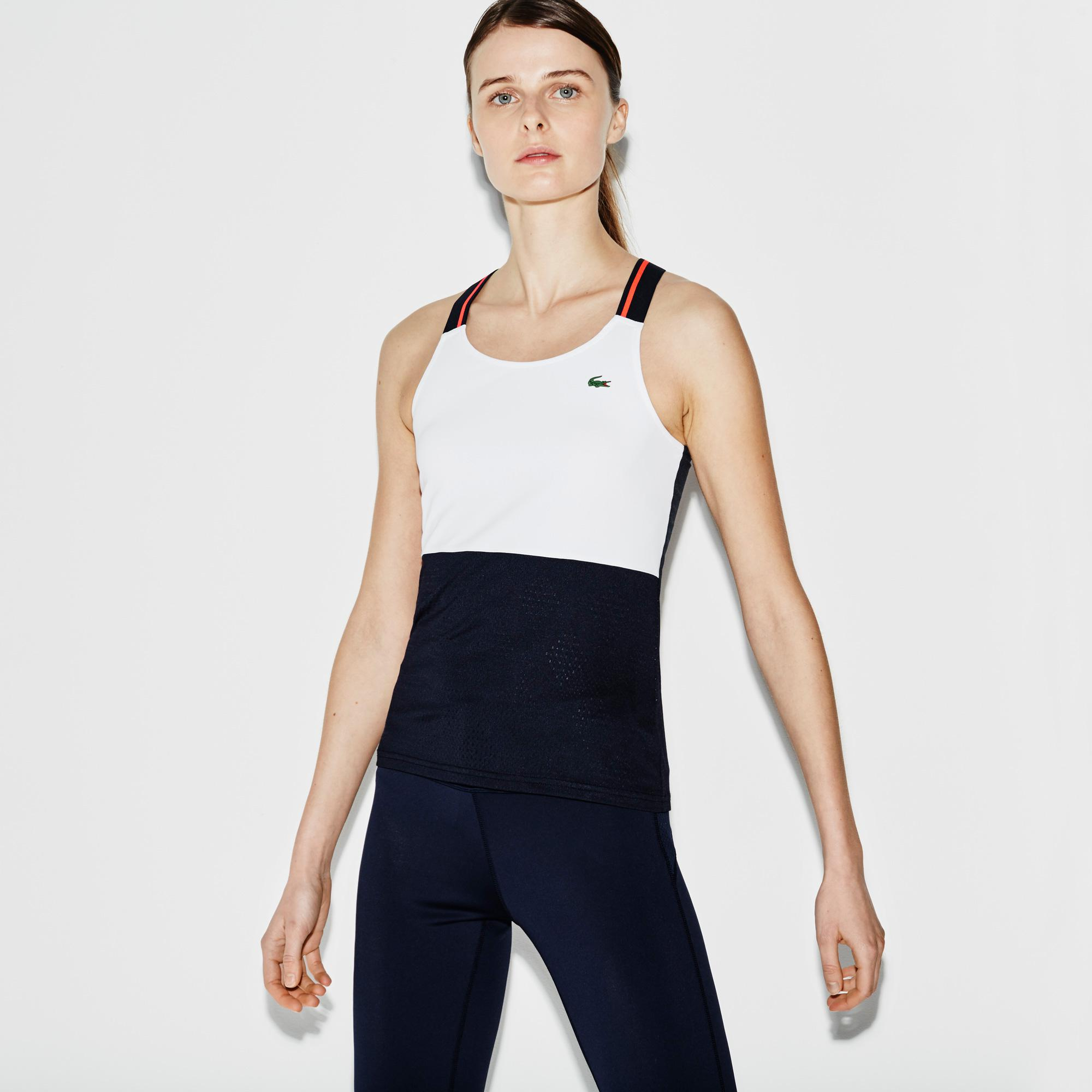 Lacoste Womens Tennis Tank Top - White/Navy - Tennisnuts.com