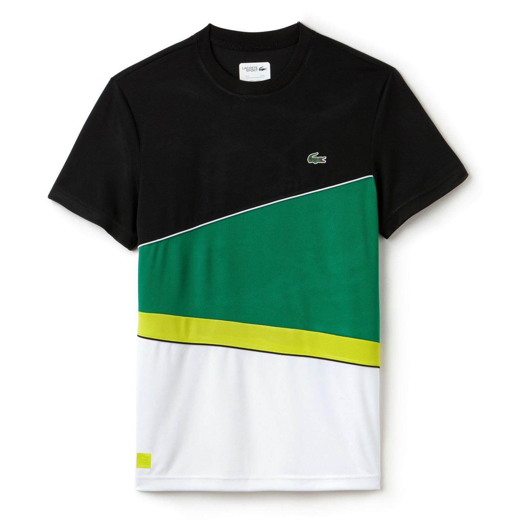 63c883f64d9 Lacoste Sport Mens Tennis Colourblock T-Shirt - Black/Green/White -  Tennisnuts.com