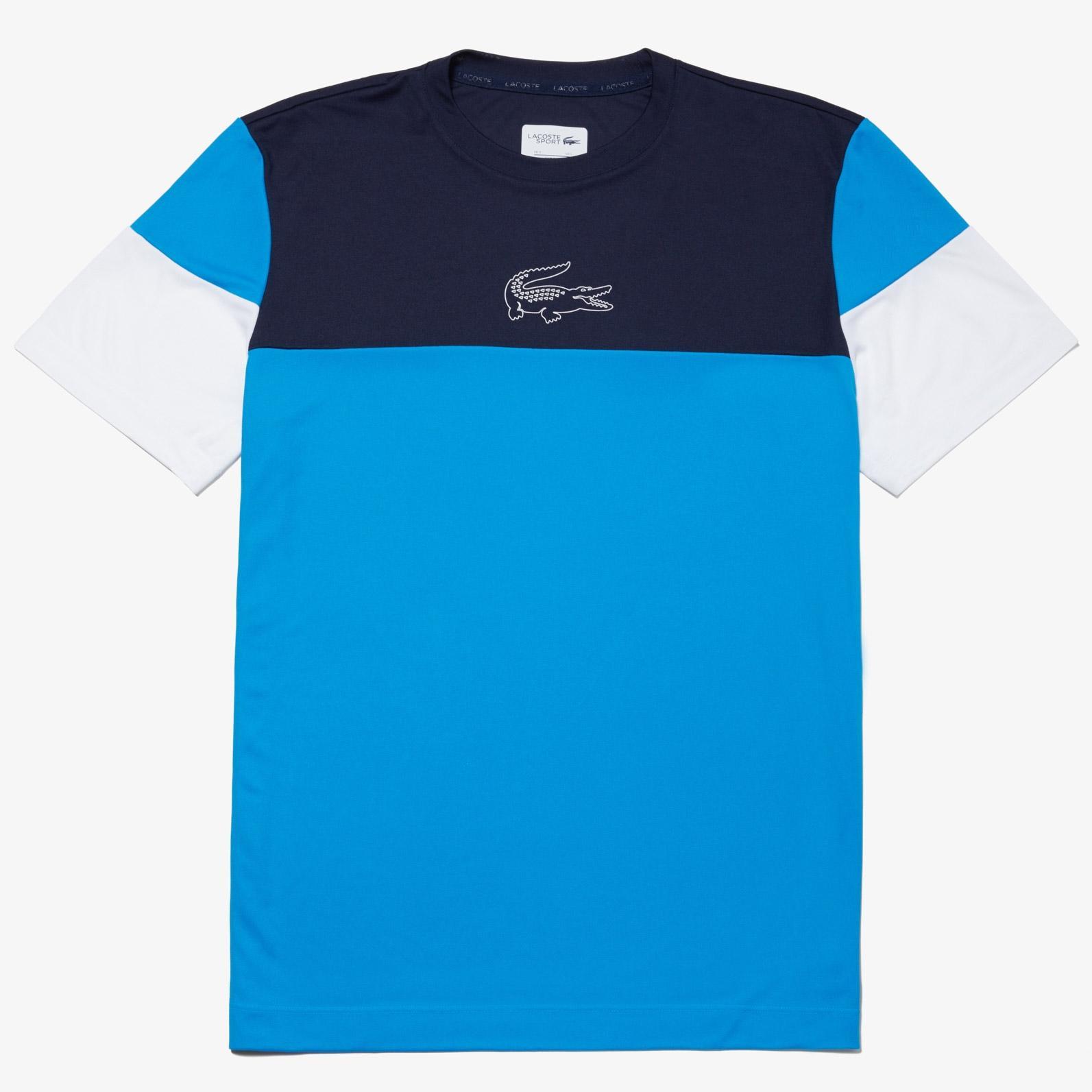 9e6808a1 Lacoste Mens Colourblock Tech Piqué T-Shirt- Navy Blue/Blue Marine/White