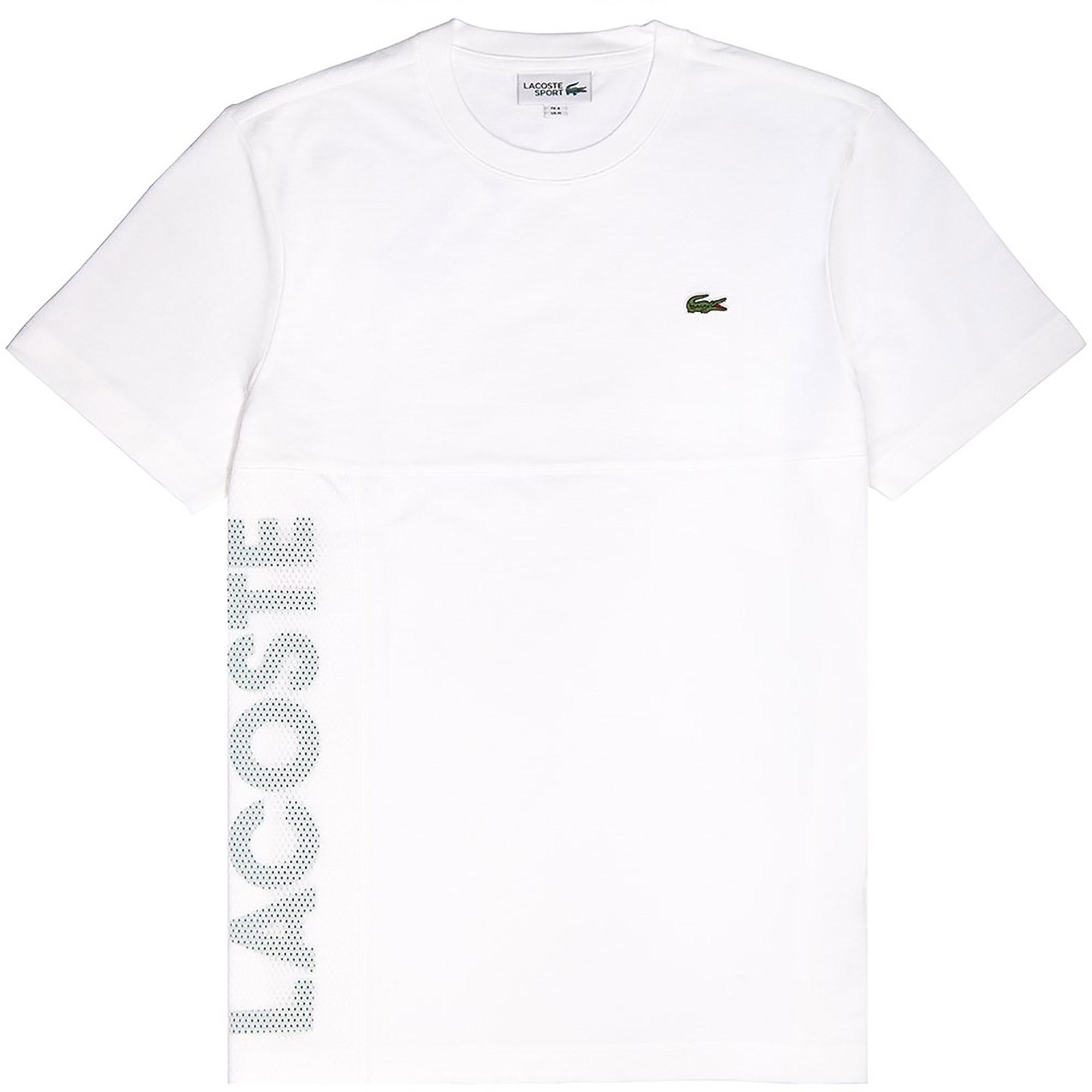 344b13b9 Lacoste Mens Crew Neck T-Shirt - White/Woodland Green - Tennisnuts.com