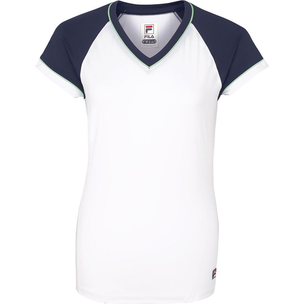 42e92b42 Fila Womens Heritage Cap Sleeve Top - White/Navy - Tennisnuts.com