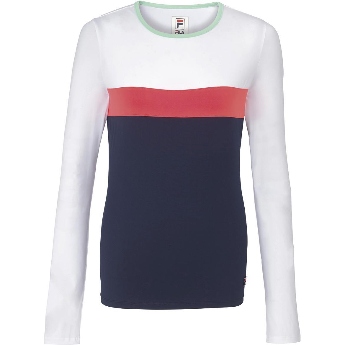d639a5ec Fila Womens Heritage Long Sleeve Top - White/Diva Pink/Navy - Tennisnuts.com