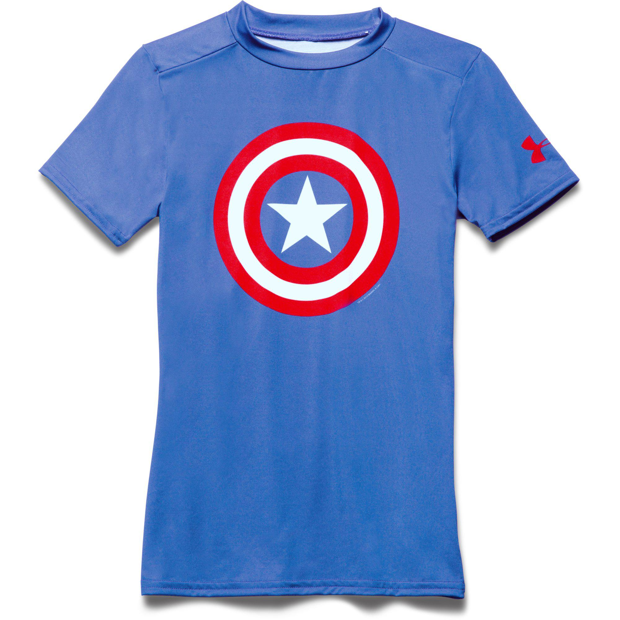 78eb538d0824 Under Armour Boys Captain America Fitted Top - Royal Blue/Red -  Tennisnuts.com
