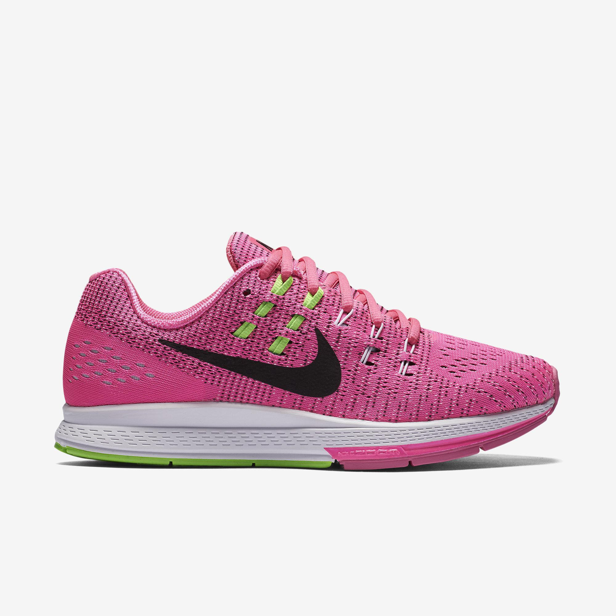 nike womens air zoom structure 19 running shoes pink - nike zoom structure 19 green pink