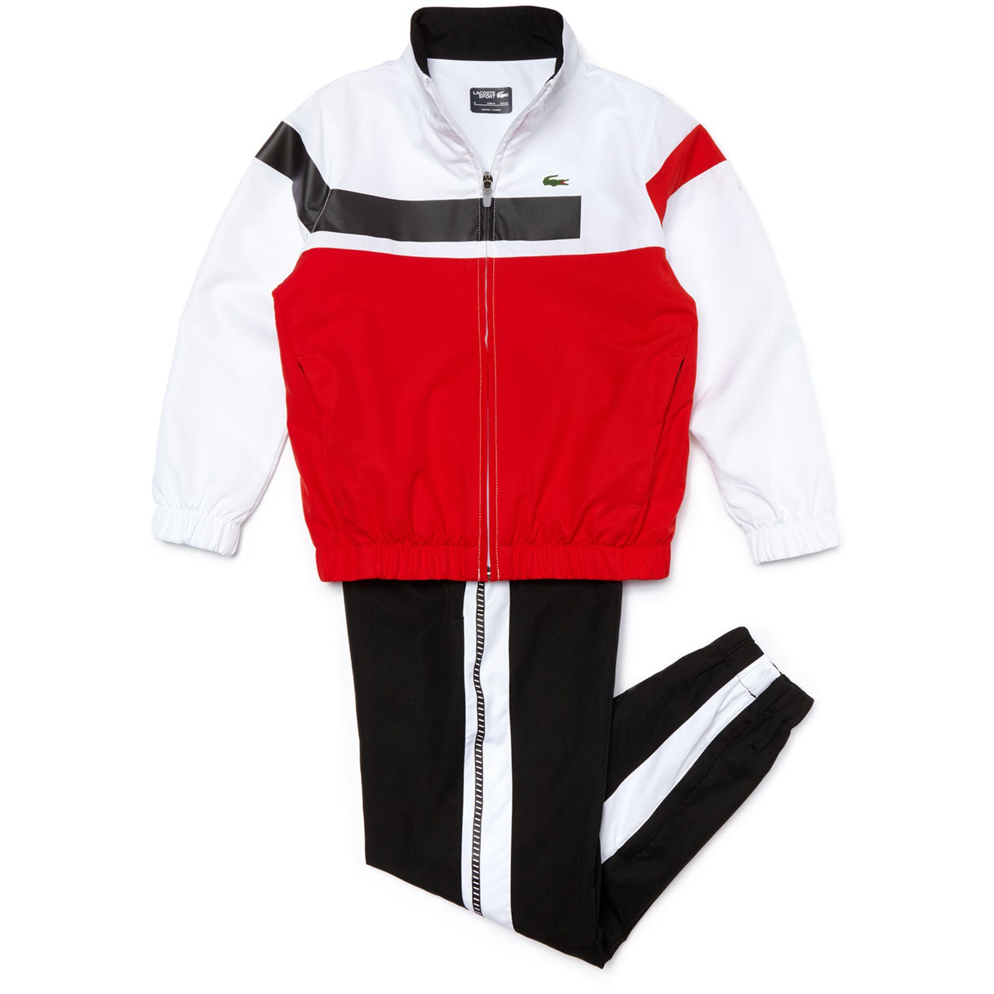 96520c98395ffe Lacoste Sport Boys Tracksuit - Red White Black - Tennisnuts.com