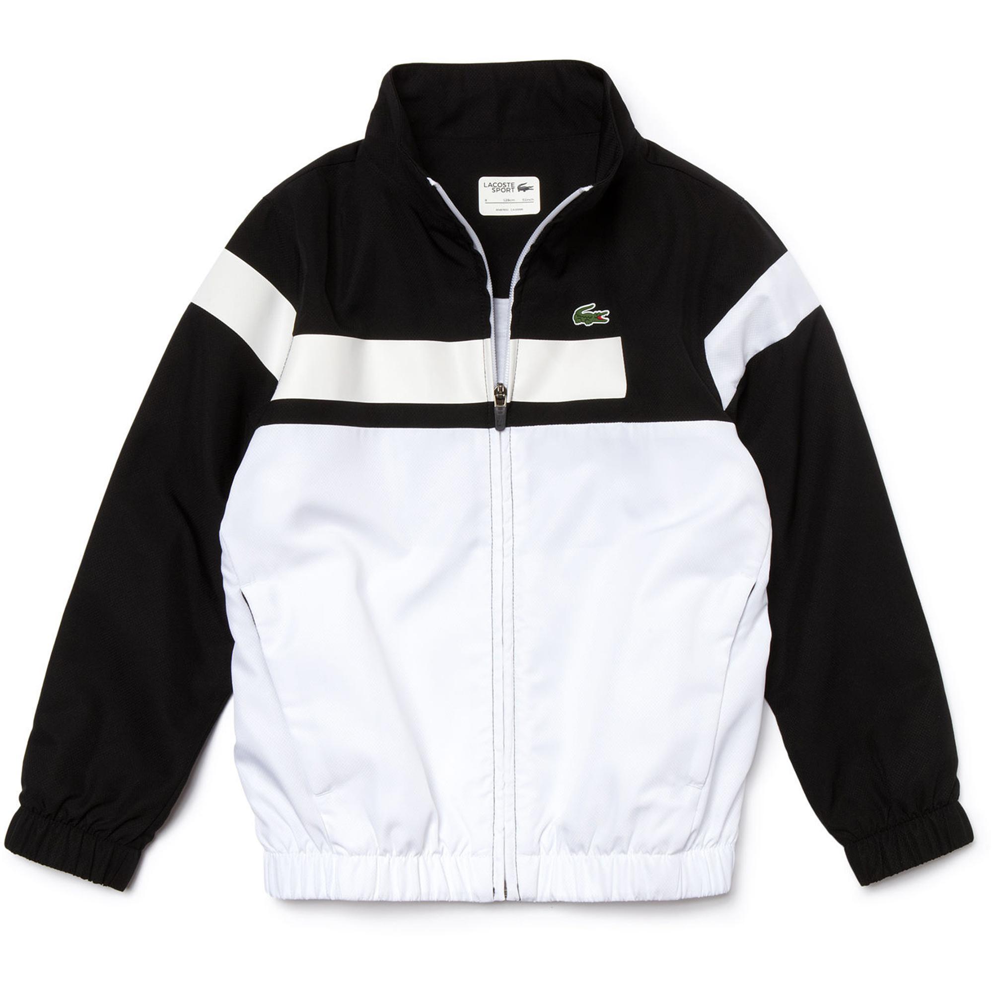 06a72693bafe2f Lacoste Sport Boys Tracksuit - White Black - Tennisnuts.com