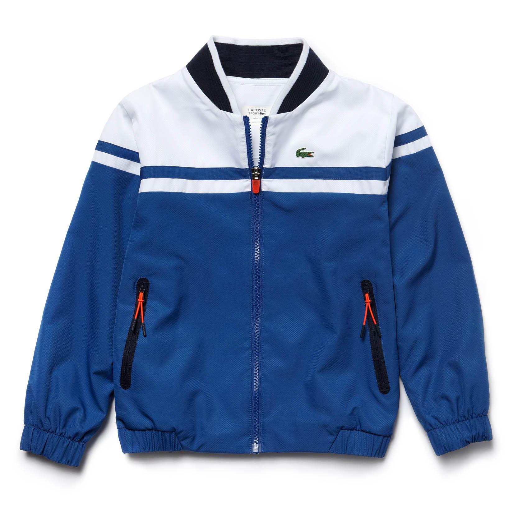 e605f61b2f0638 Lacoste Sport Boys Tracksuit - Blue White Navy - Tennisnuts.com