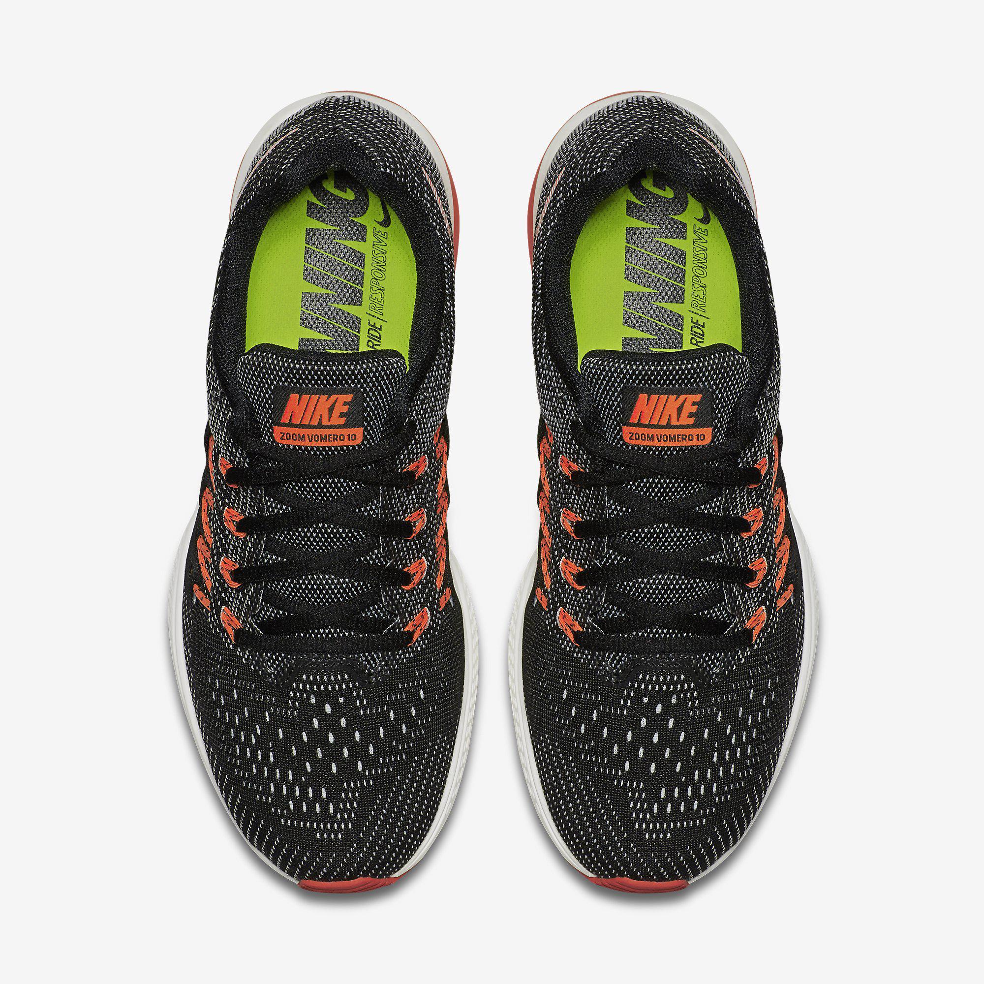85409afe0aaf Nike Womens Air Zoom Vomero 10 Running Shoes - Black Orange ...