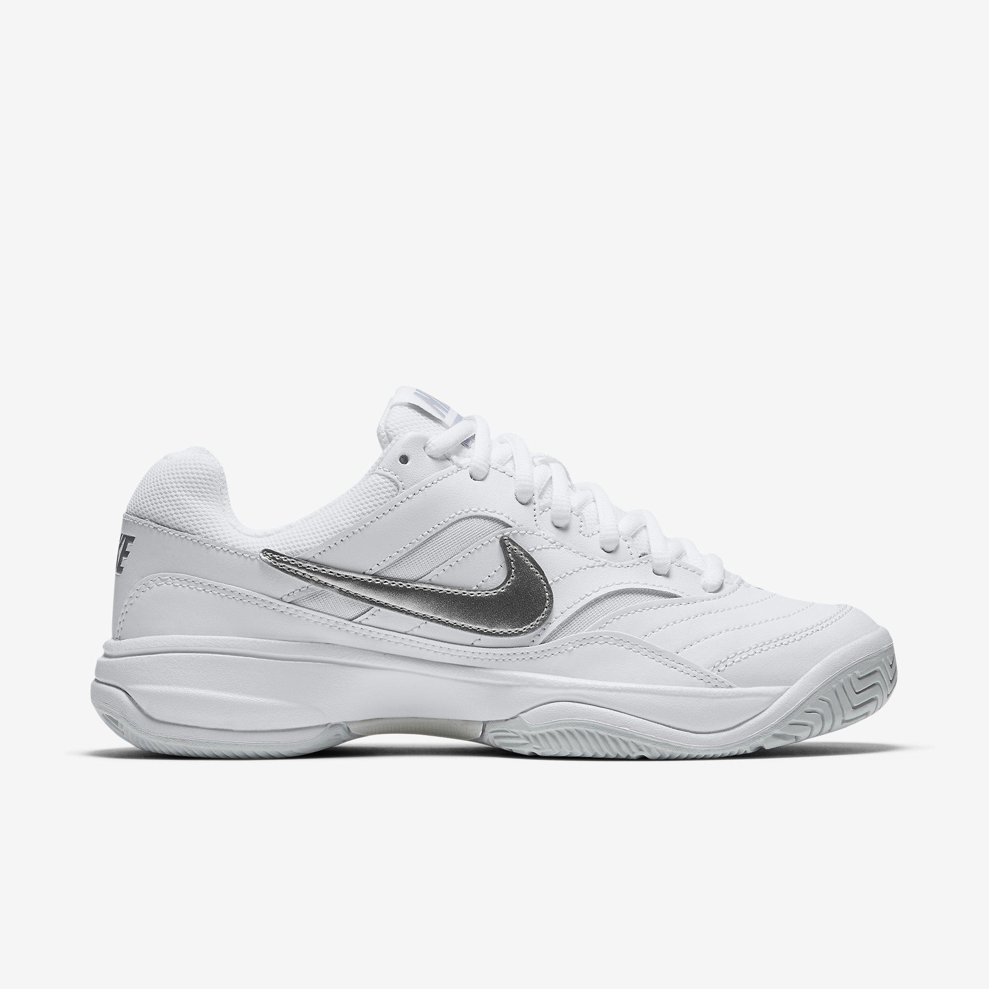 Nike Womens Court Lite Tennis Shoes - White Grey - Tennisnuts.com 60dbec734