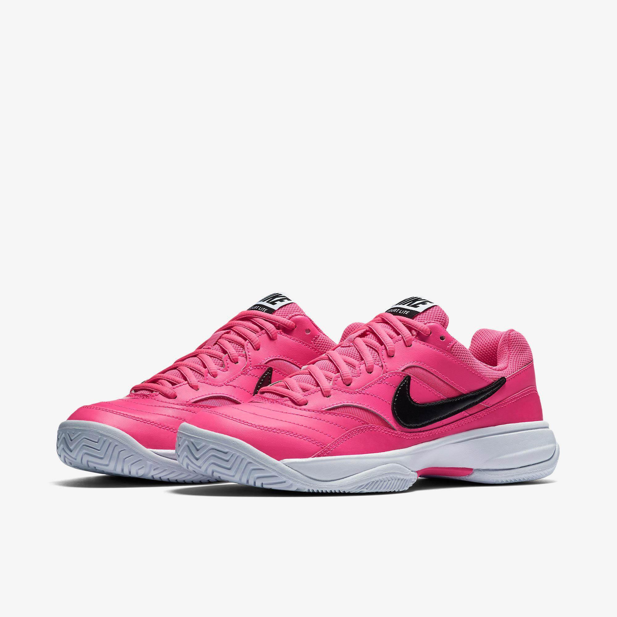 nike womens court lite tennis shoes pink blast black