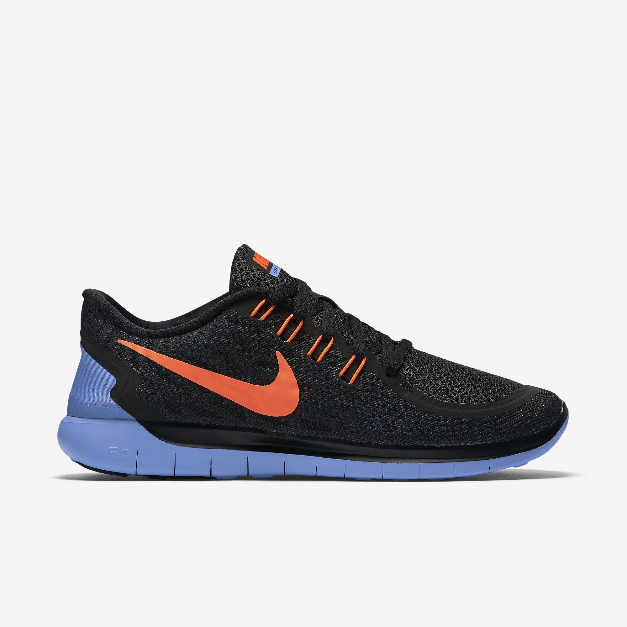 super popular 40732 d65d9 Nike Womens Free 5.0 Running Shoes - Black Blue - Tennisnuts.com