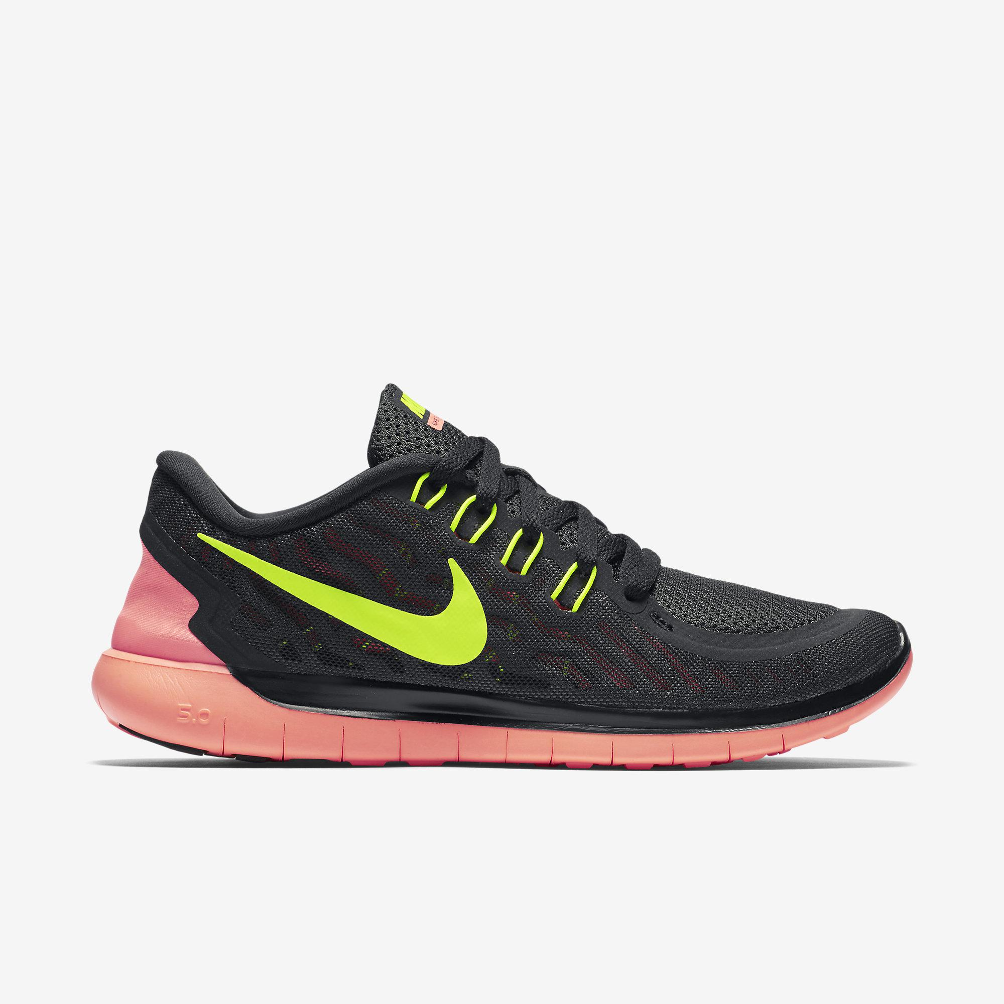 wholesale dealer 73fa9 324d9 Nike Womens Free 5.0 Running Shoes - Black Yellow Mango - Tennisnuts.com