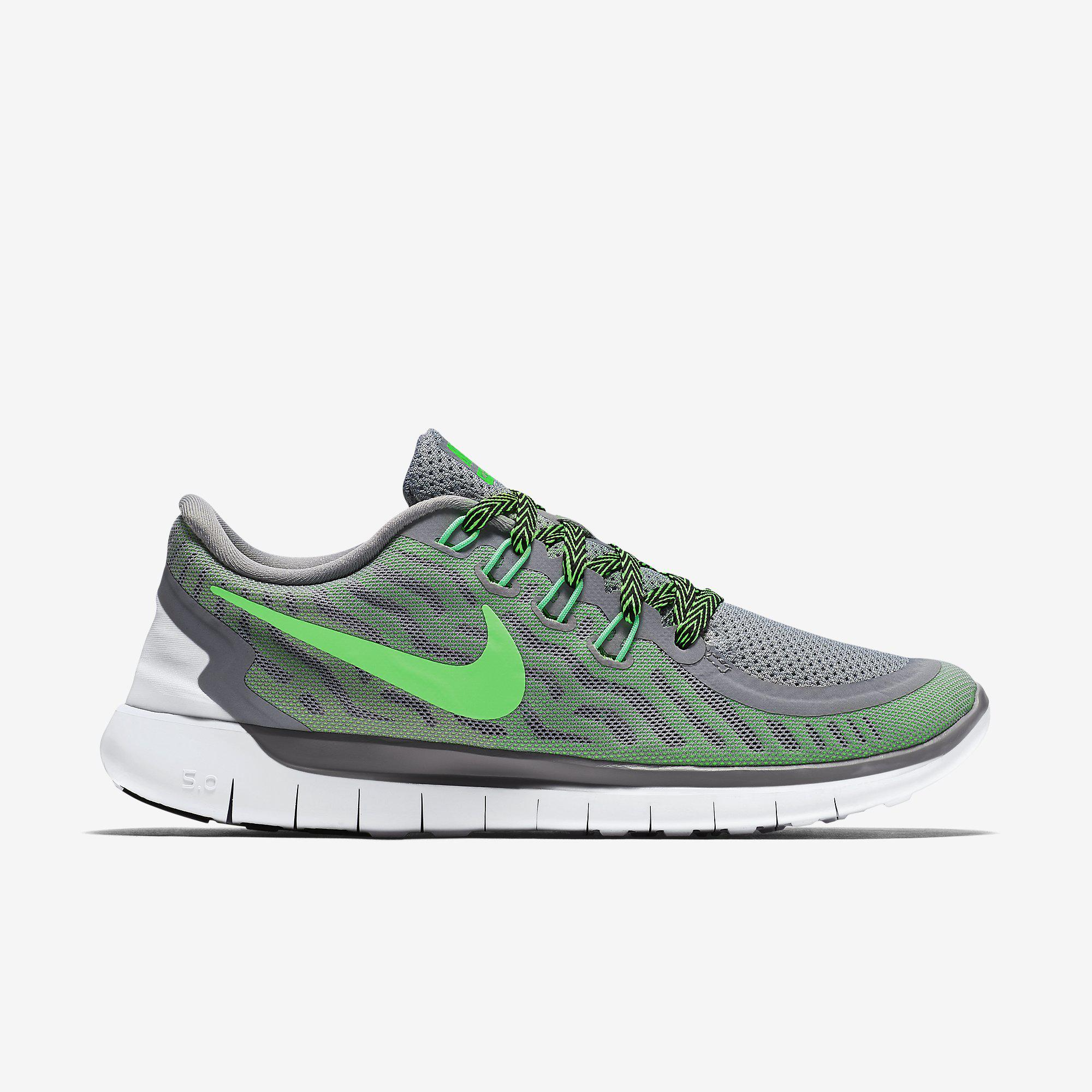 nike womens free 5 0 running shoes wolf grey green. Black Bedroom Furniture Sets. Home Design Ideas