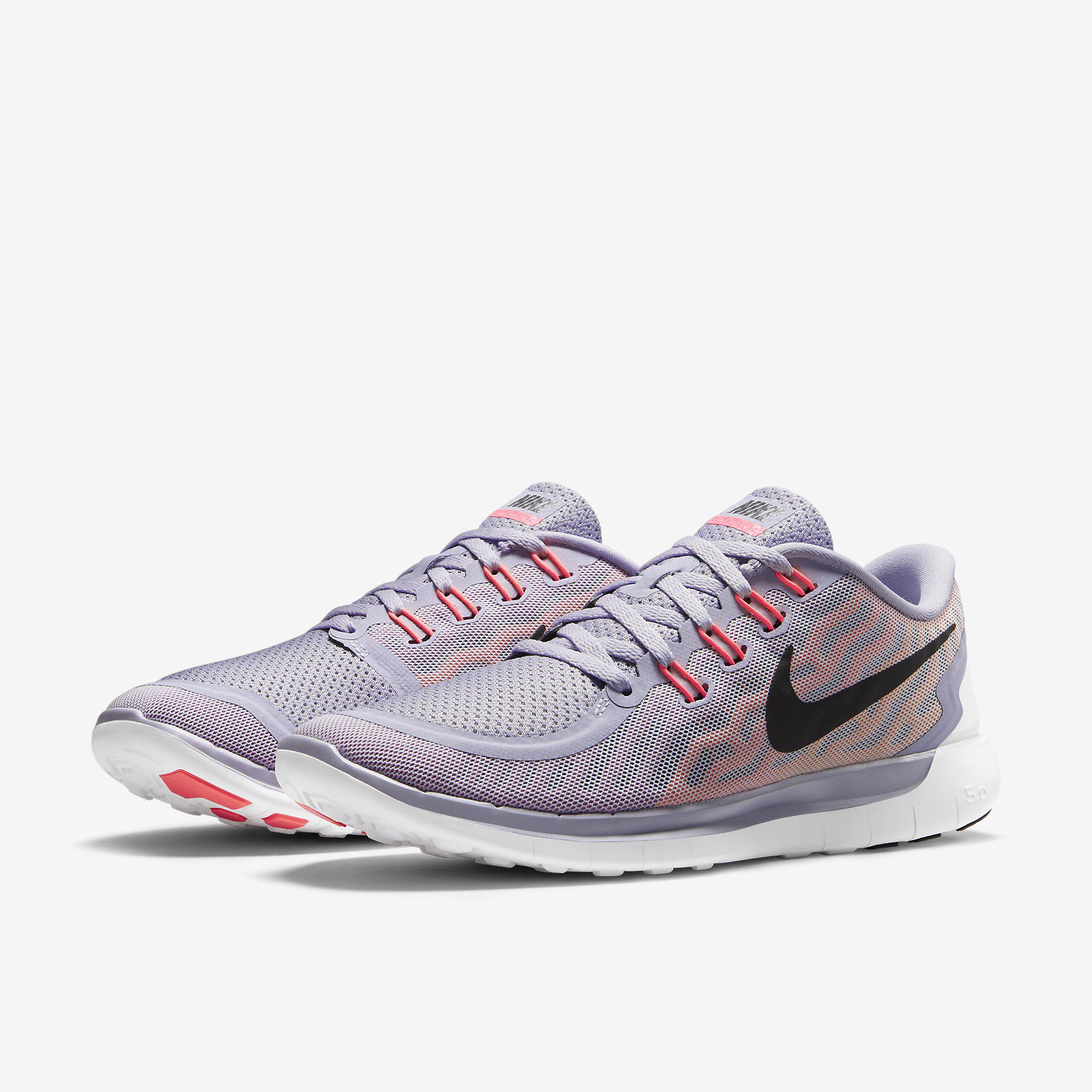 Nike Womens Free 5.0+ Running Shoes - Titanium/Fuchsia Flash