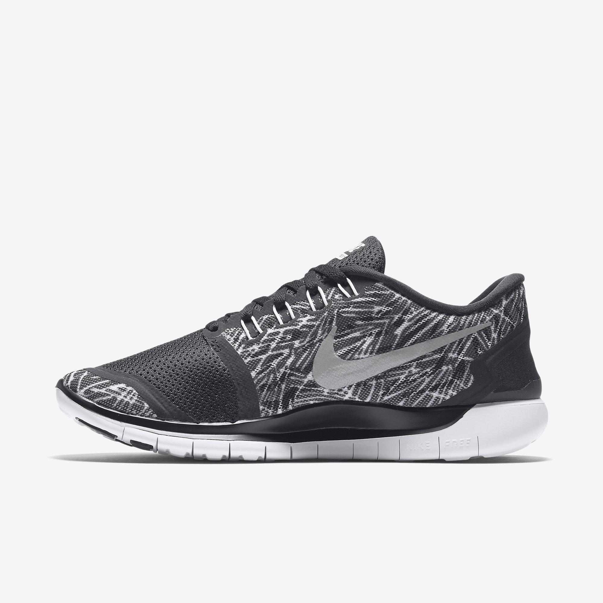 843aaf3abd2f Nike Womens Free 5.0 Print Running Shoes - Black White - Tennisnuts.com