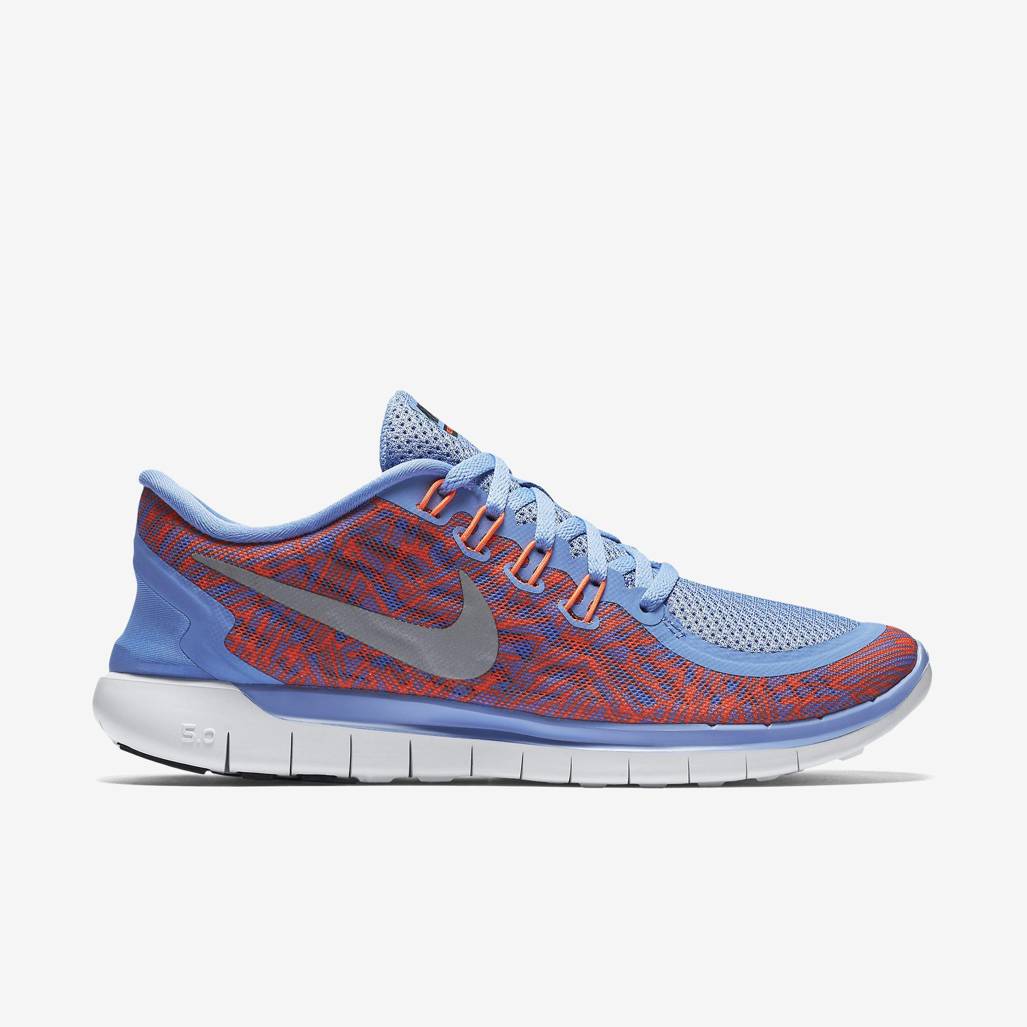 e987e69b4c6d Nike Womens Free 5.0 Print Running Shoes - Chalk Blue - Tennisnuts.com
