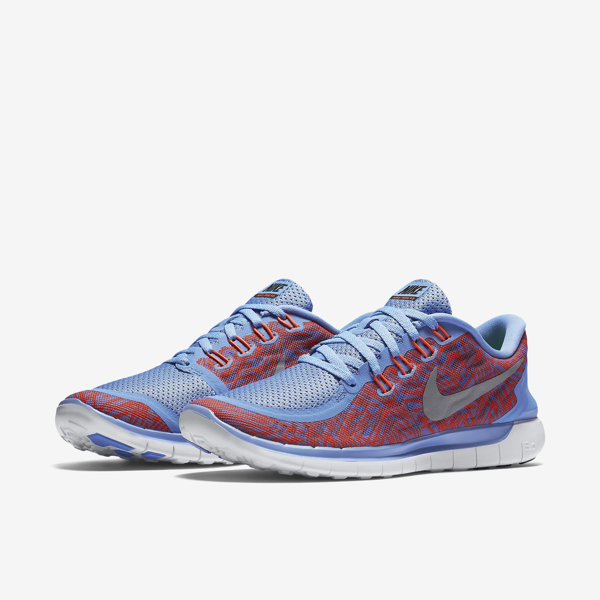 fd36259f1263 Nike Womens Free 5.0 Print Running Shoes - Chalk Blue - Tennisnuts.com