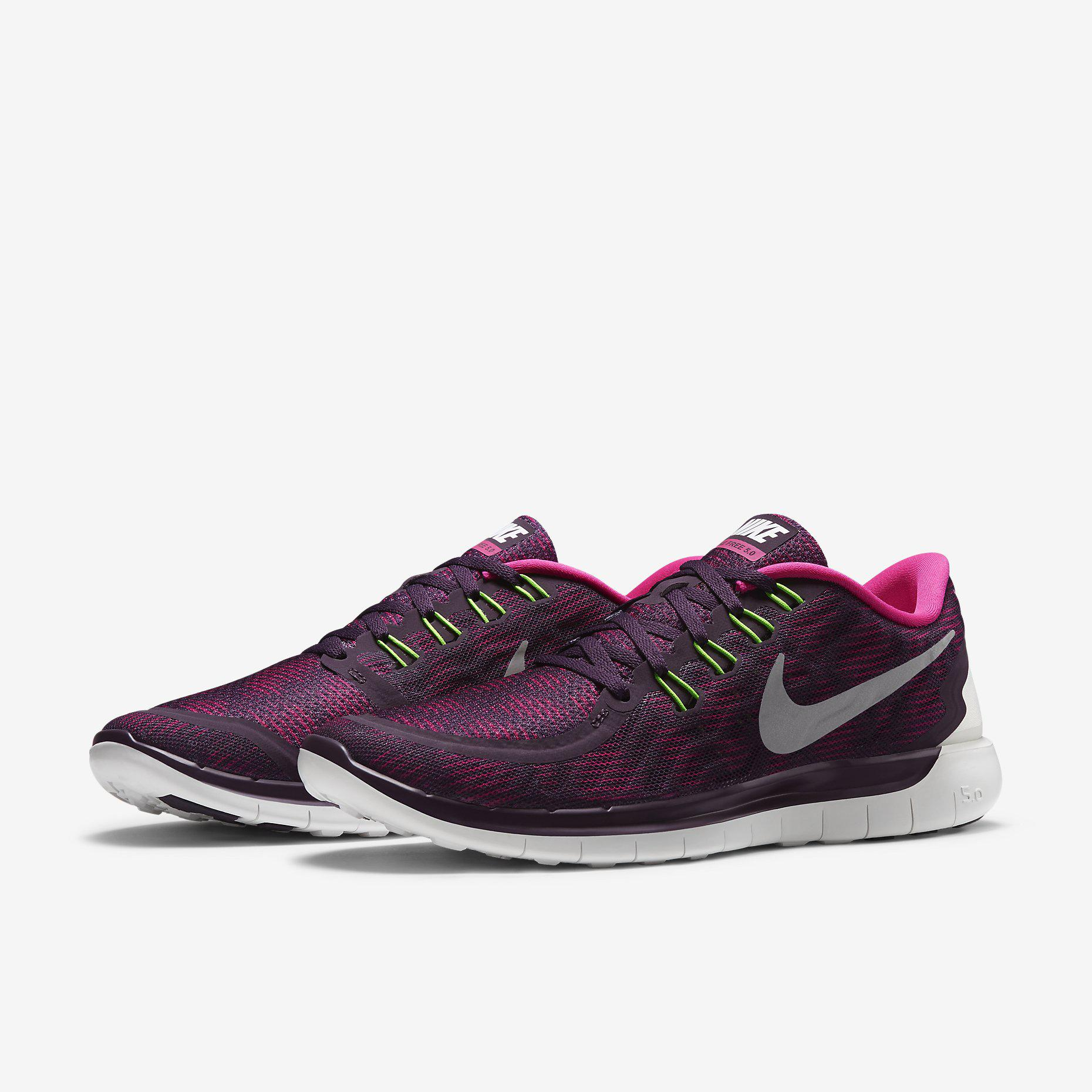 Nike Womens Free 5.0+ Print Running Shoes - PurplePink