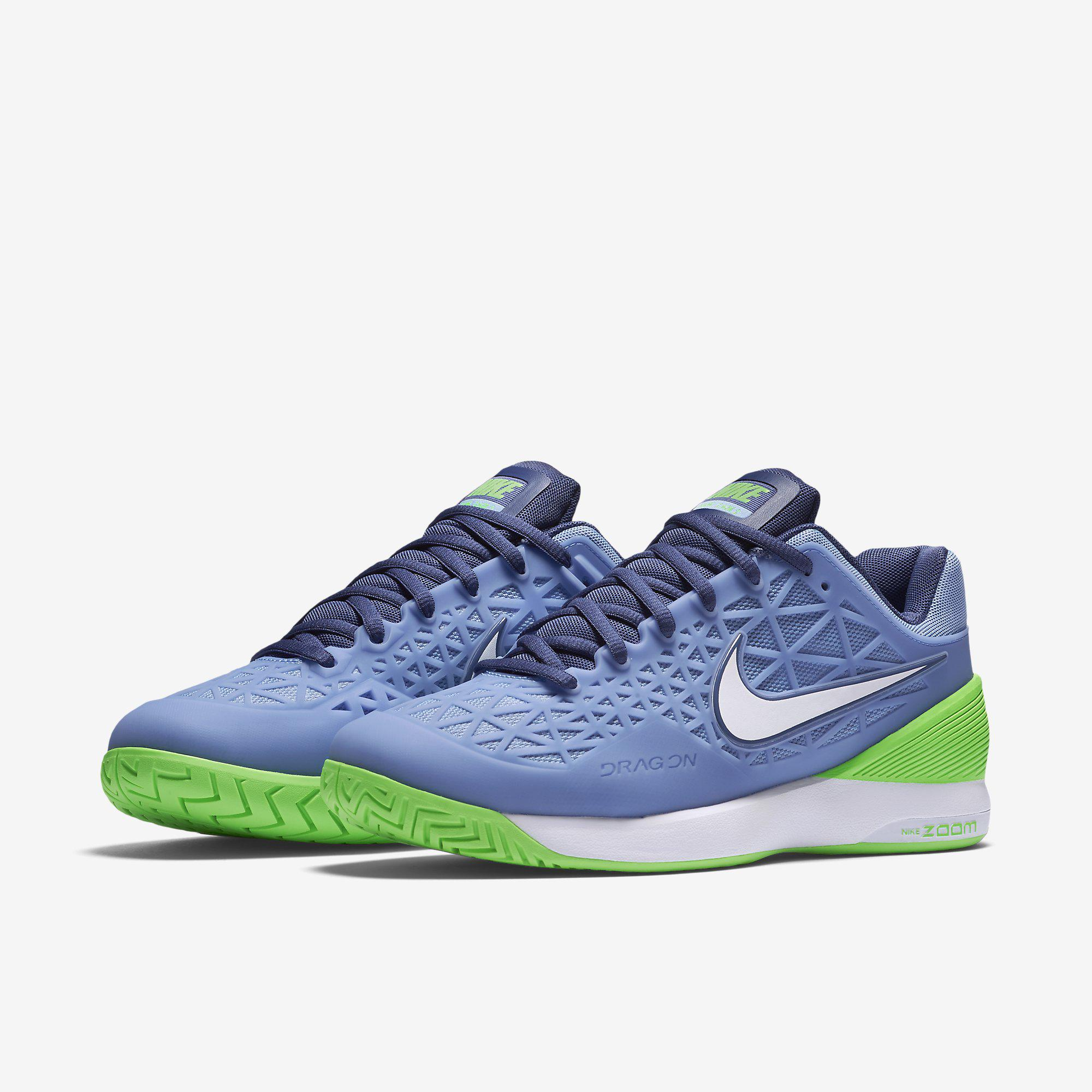 272e2dbdab Nike Womens Zoom Cage 2 Tennis Shoes - Blue White Green - Tennisnuts.com