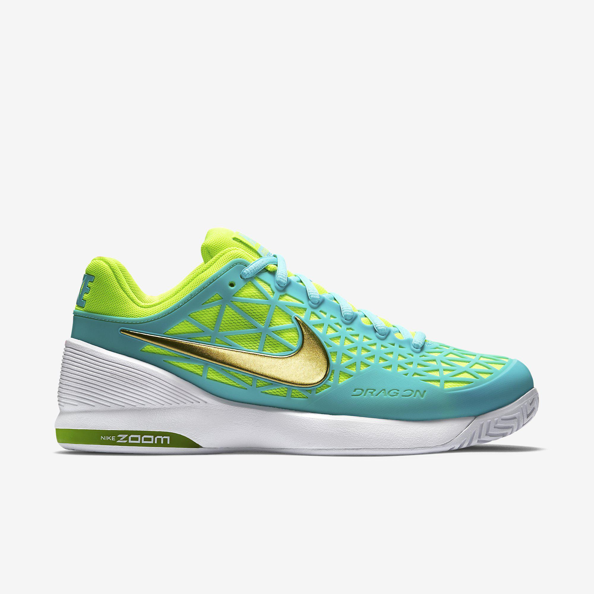 18a1a1f73c75 Nike Womens Zoom Cage 2 Tennis Shoes - Light Aqua White - Tennisnuts.com