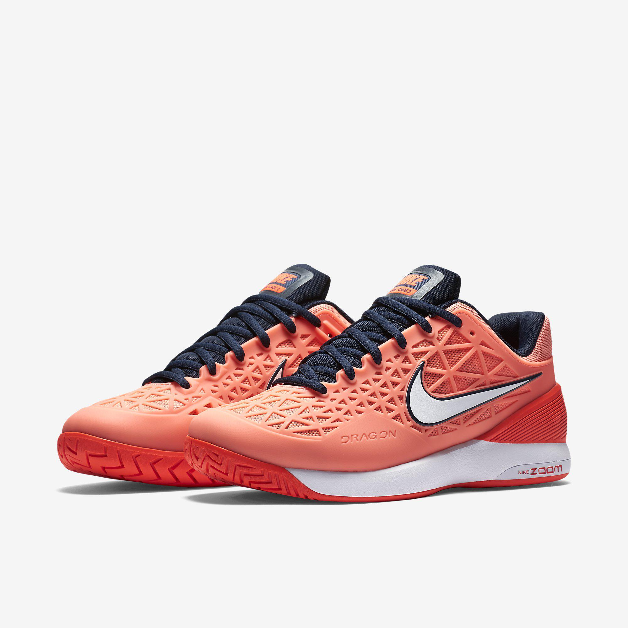 Nike Womens Zoom Cage 2 Tennis Shoes OrangeCoral