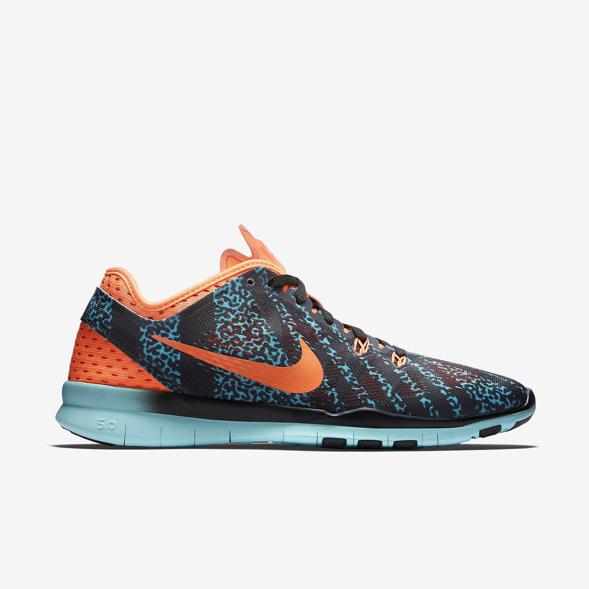 8cbf9c13d956 Nike Womens Free 5.0 TR Printed Training Shoes - Black Hot Lava Artisan  Teal - Tennisnuts.com
