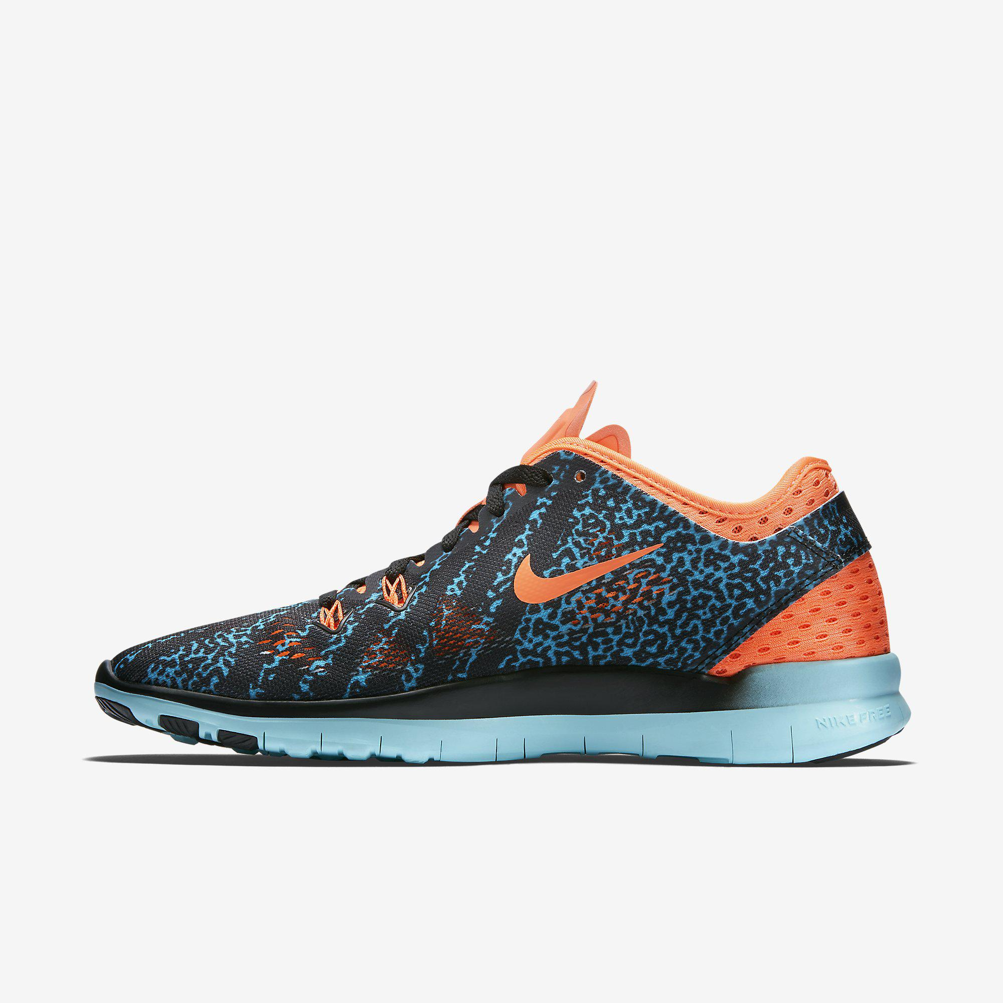 b546e181953f Nike Womens Free 5.0 TR Printed Training Shoes - Black Hot Lava Artisan Teal