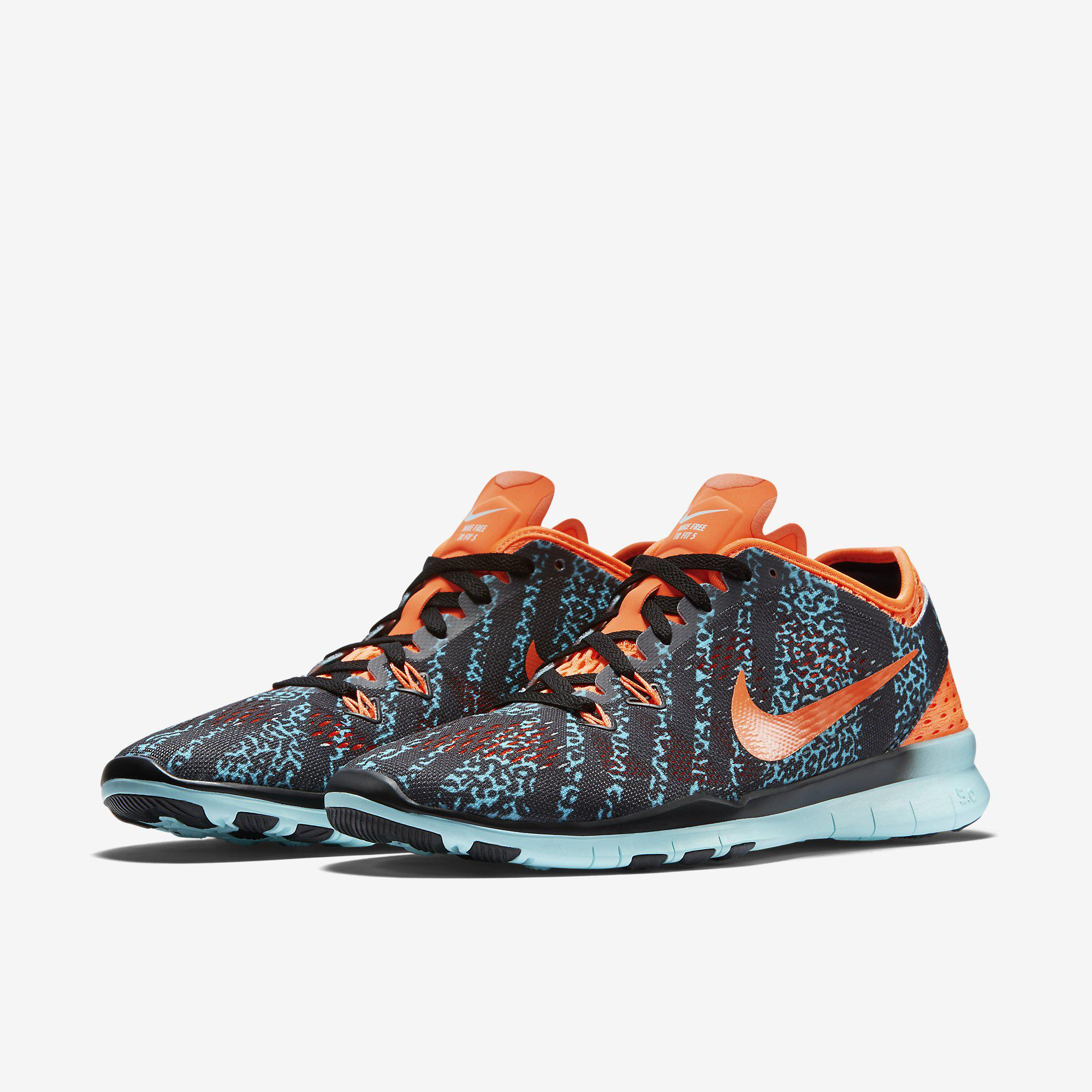 792ad64d71e9 Nike Womens Free 5.0 TR Printed Training Shoes - Black Hot Lava Artisan Teal