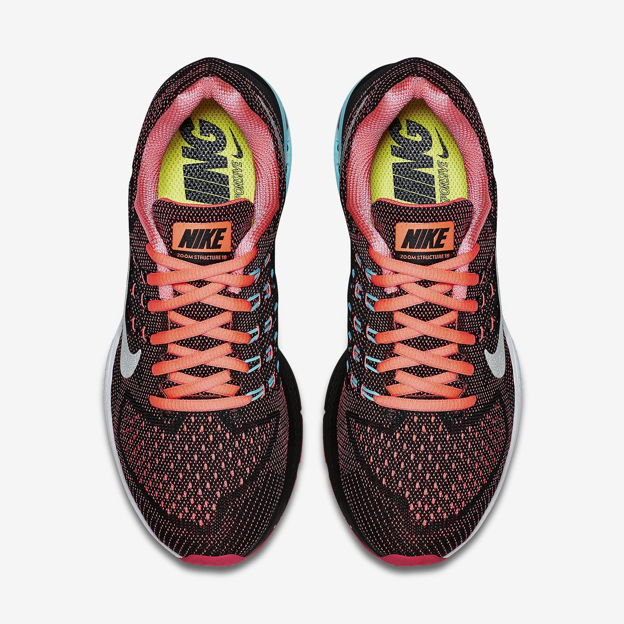 Nike Womens Air Zoom Structure 18 Running Shoes Hot Lava