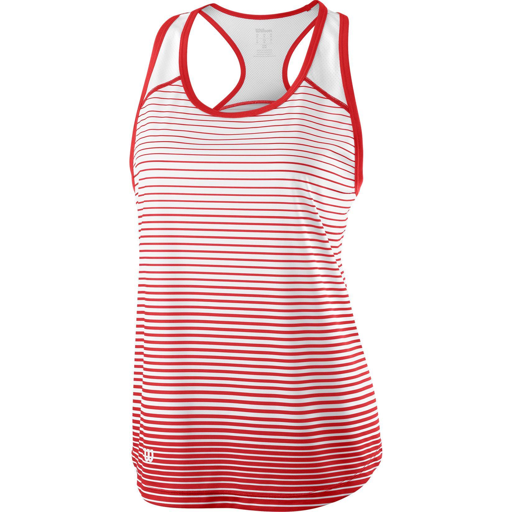 b948b1f229e694 Wilson Womens Striped Tank Top - Red White - Tennisnuts.com