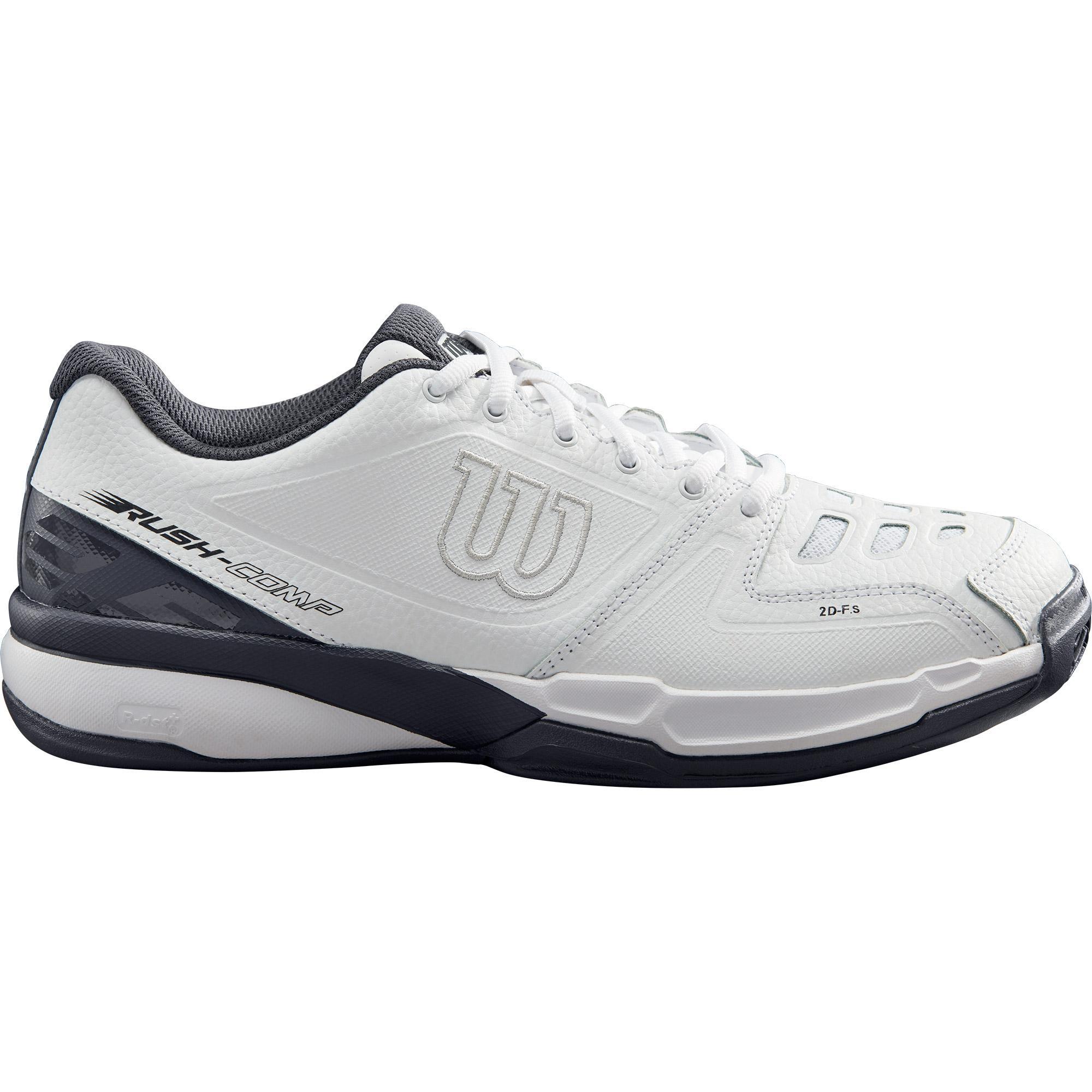 9a28e82158cf45 Wilson Mens Rush Competition Tennis Shoes - White/Ebony - Tennisnuts.com