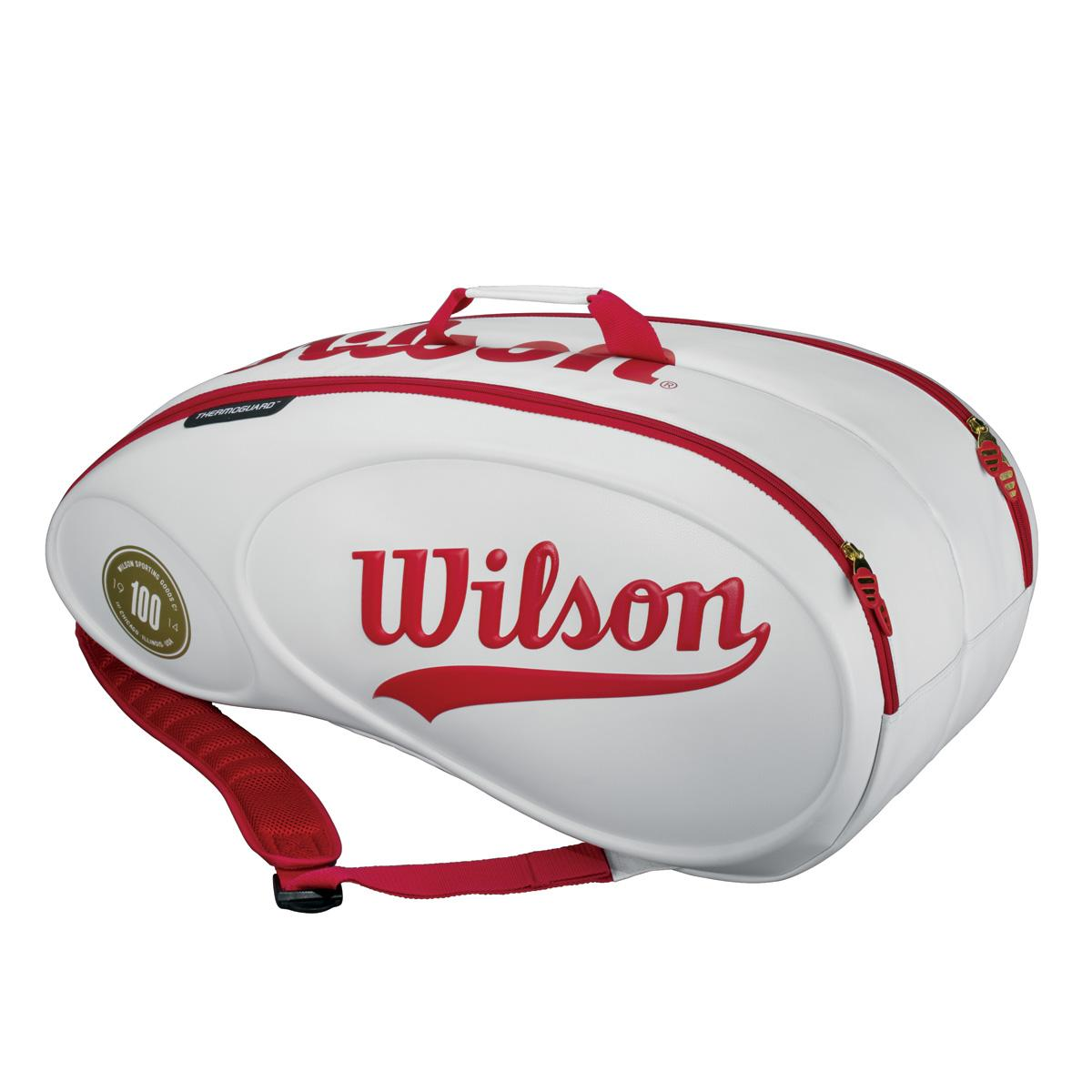 wilson 100 year tour 9 pack bag white red. Black Bedroom Furniture Sets. Home Design Ideas