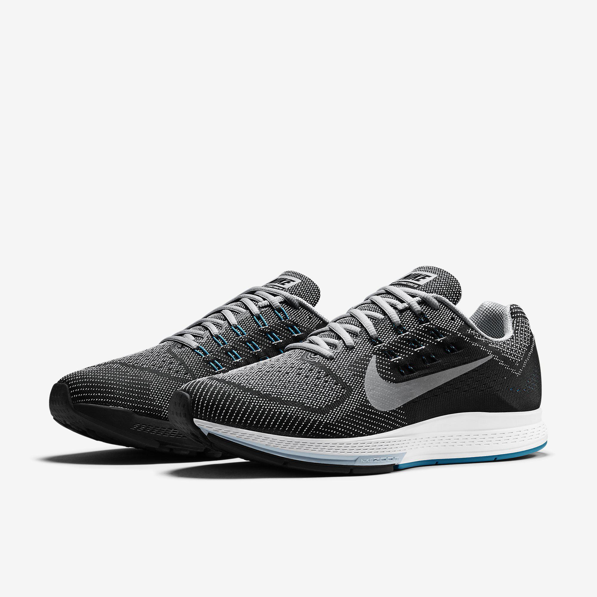 8f72818e2cee Nike Mens Air Zoom Structure 18 Running Shoes - Wolf Grey Black ...